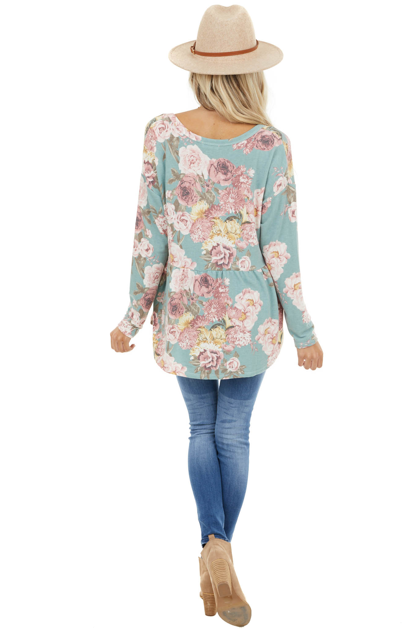 Sage Floral Print Babydoll Top with Button Front Detail