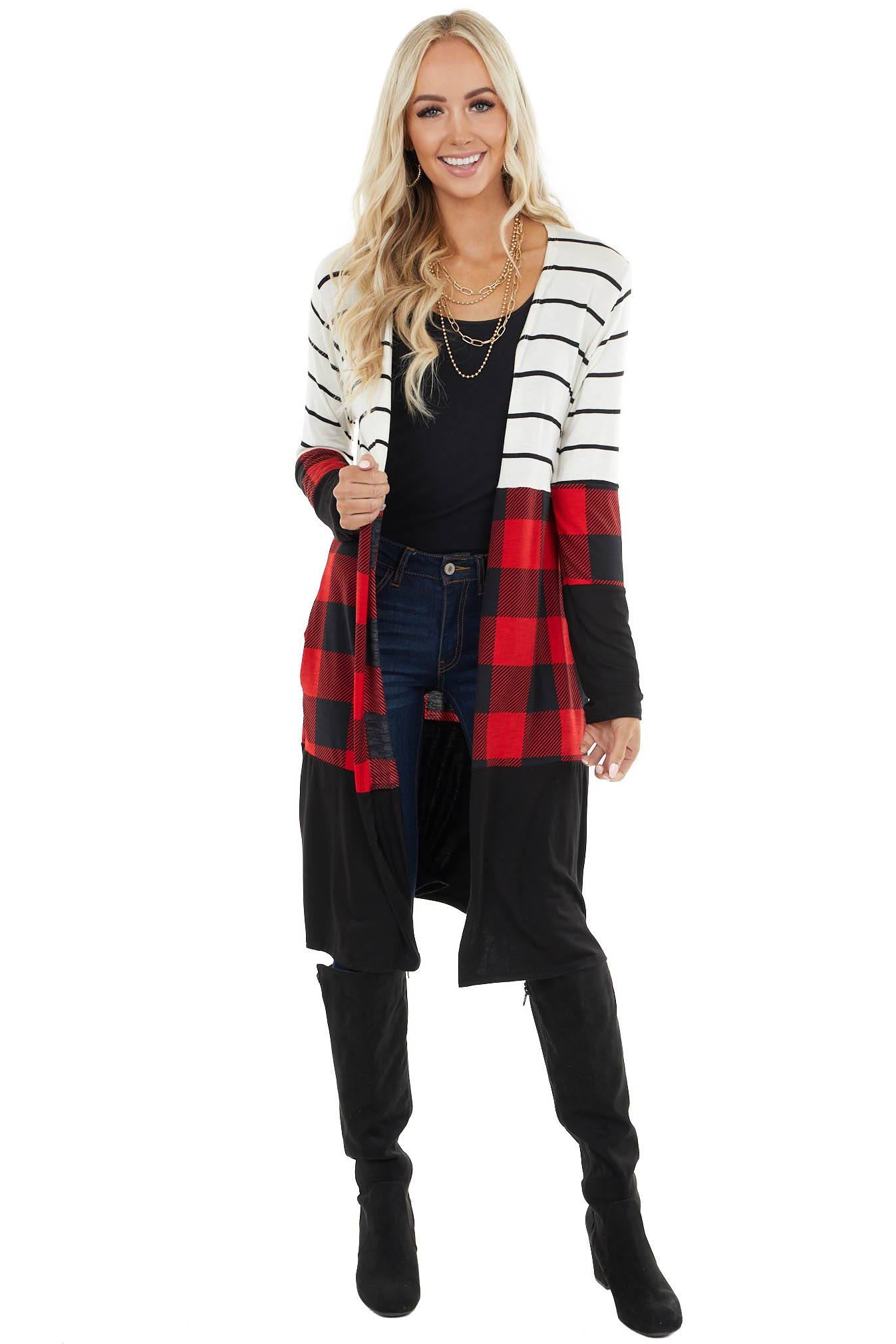 Black Multiprint Cardigan with Red and Black Buffalo Plaid