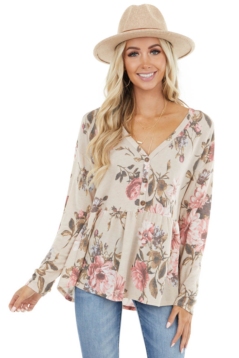 Latte Floral Print Babydoll Top with Button Front Detail