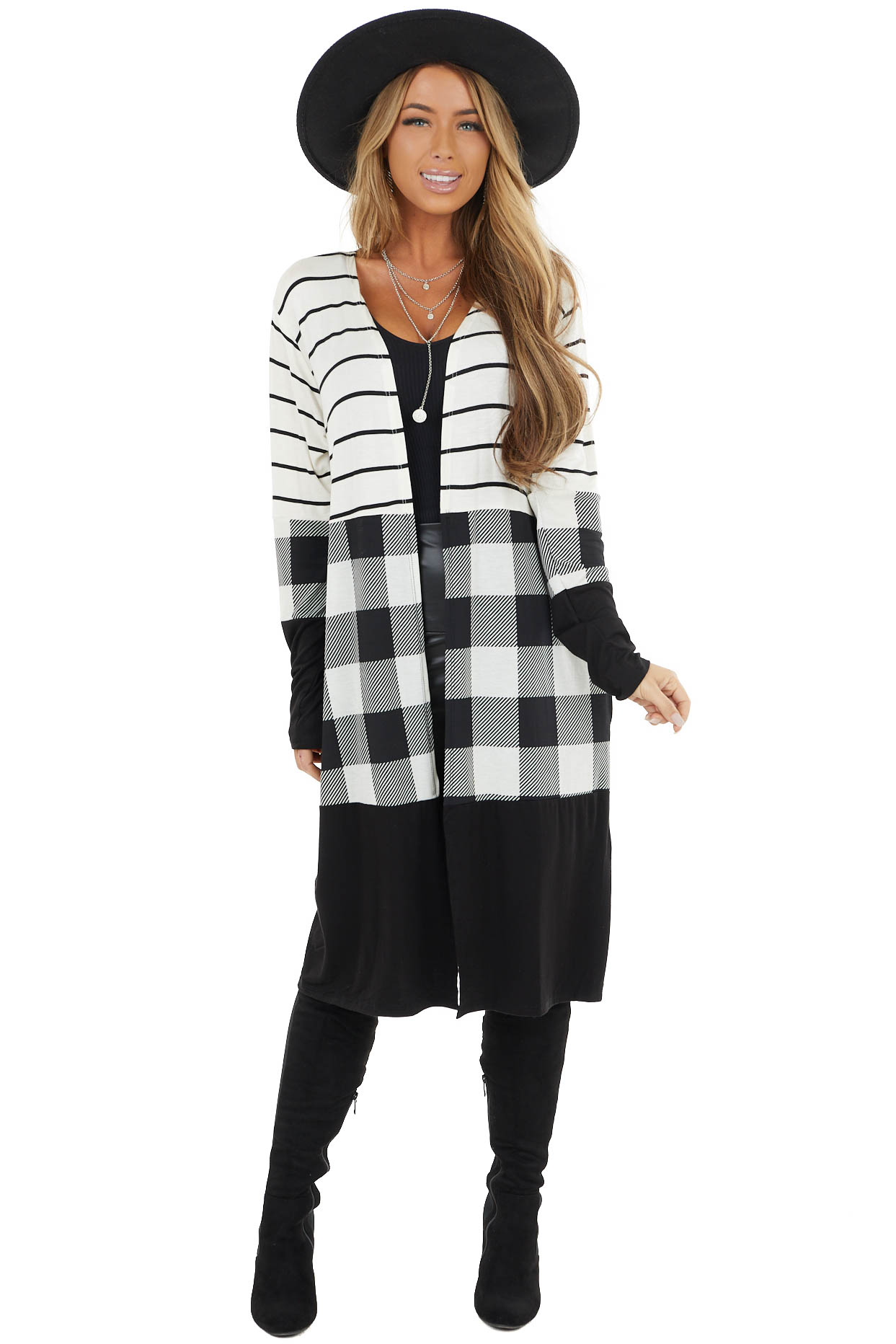 Multiprint Duster Cardigan with Plaid and Stripe Details