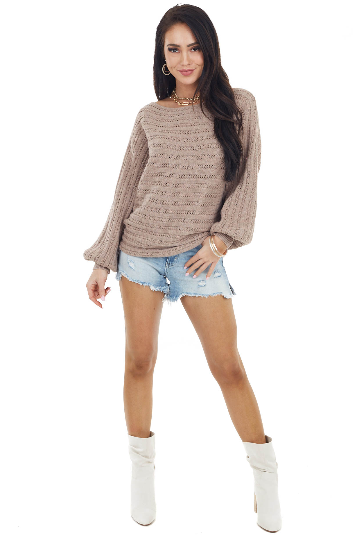 Latte Textured Boat Neck Sweater with Long Puff Sleeves