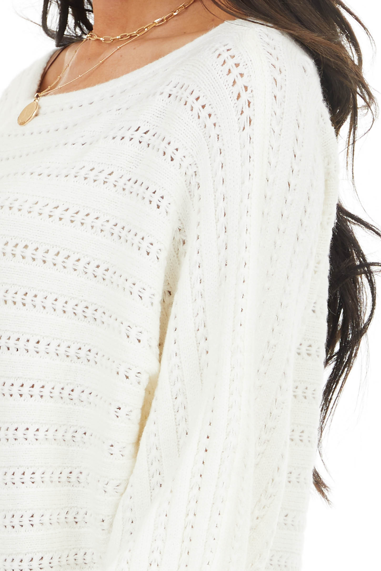 Cream Textured Boat Neck Sweater with Long Puff Sleeves