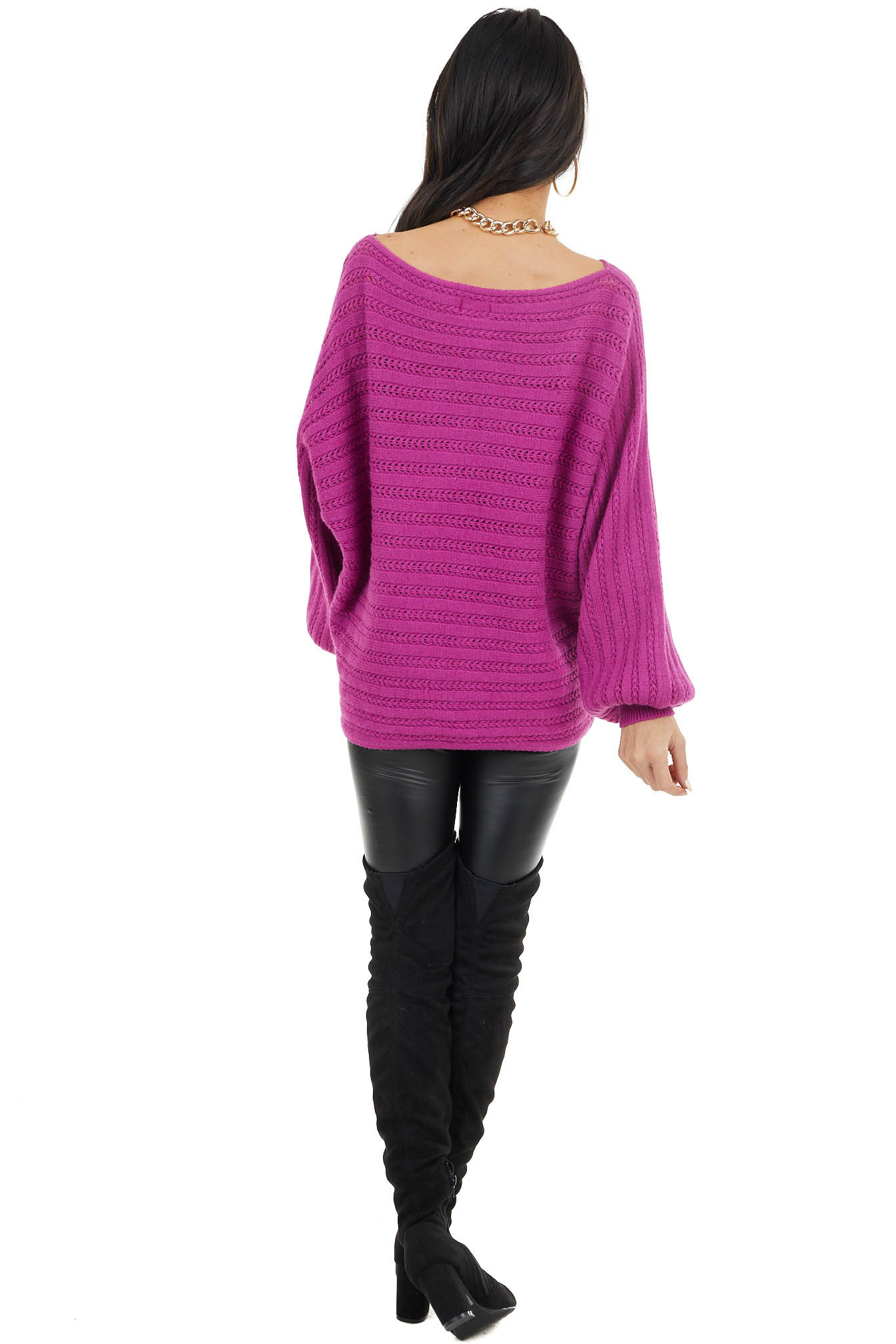 Magenta Textured Boat Neck Sweater with Long Puff Sleeves
