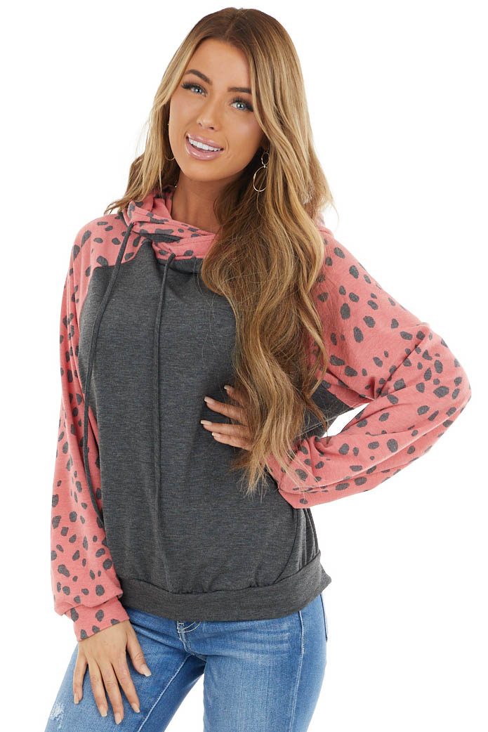 Heathered Grey and Dusty Red Cheetah Print Hoodie
