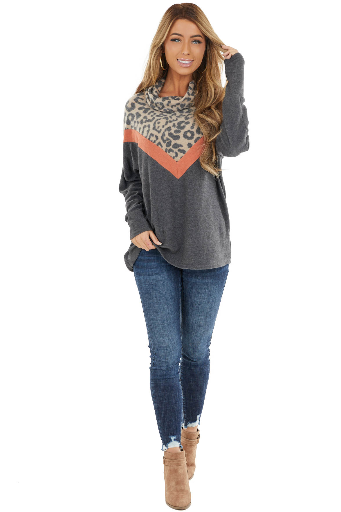 Leopard Print Cowl Neck Top with Burnt Orange Chevron Detail