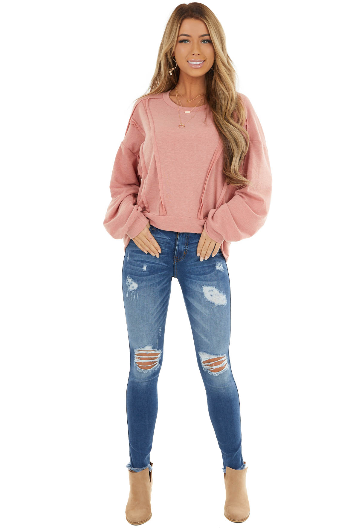 Dusty Coral Stretchy Long Sleeve Top with Raw Edge Details