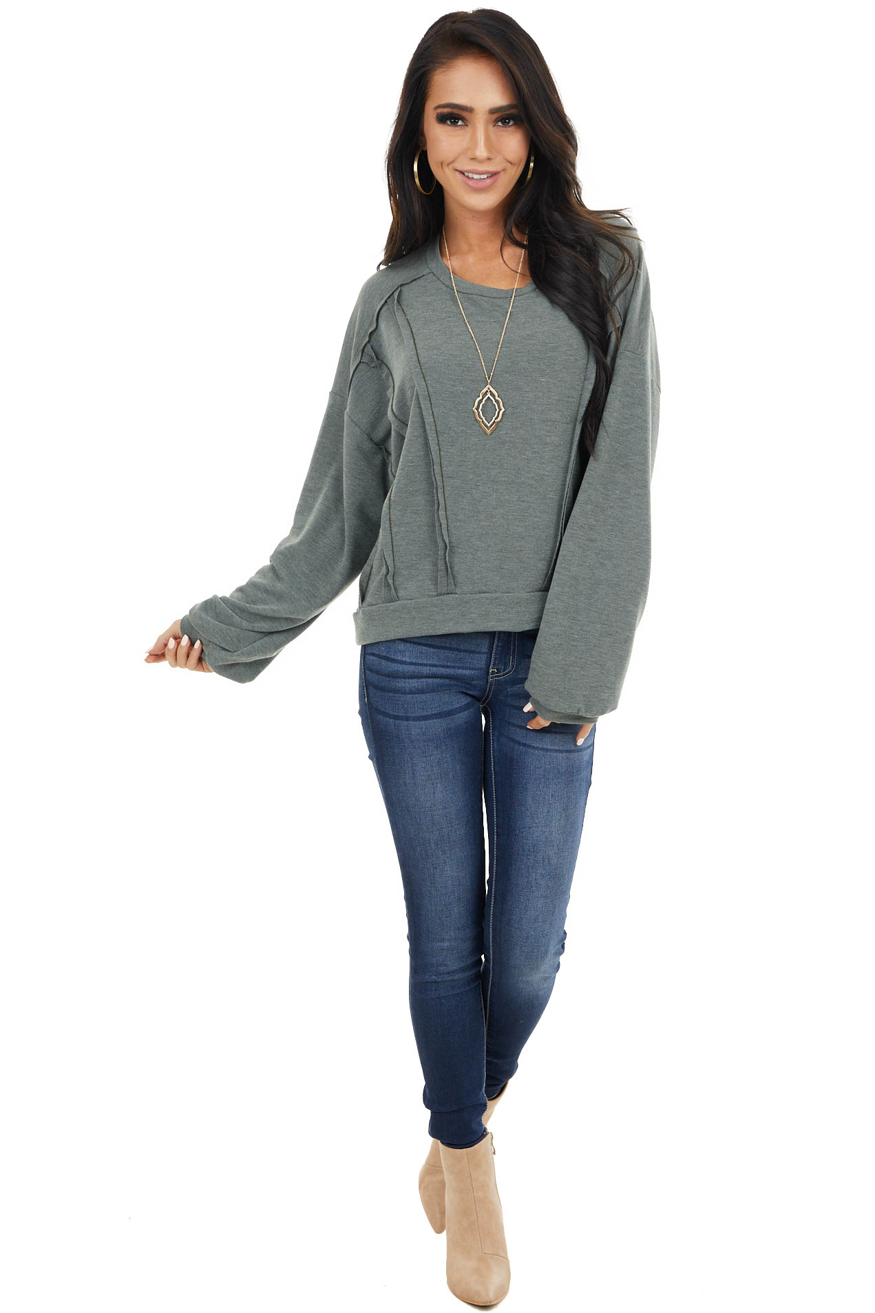 Faded Olive Stretchy Long Sleeve Top with Raw Edge Details