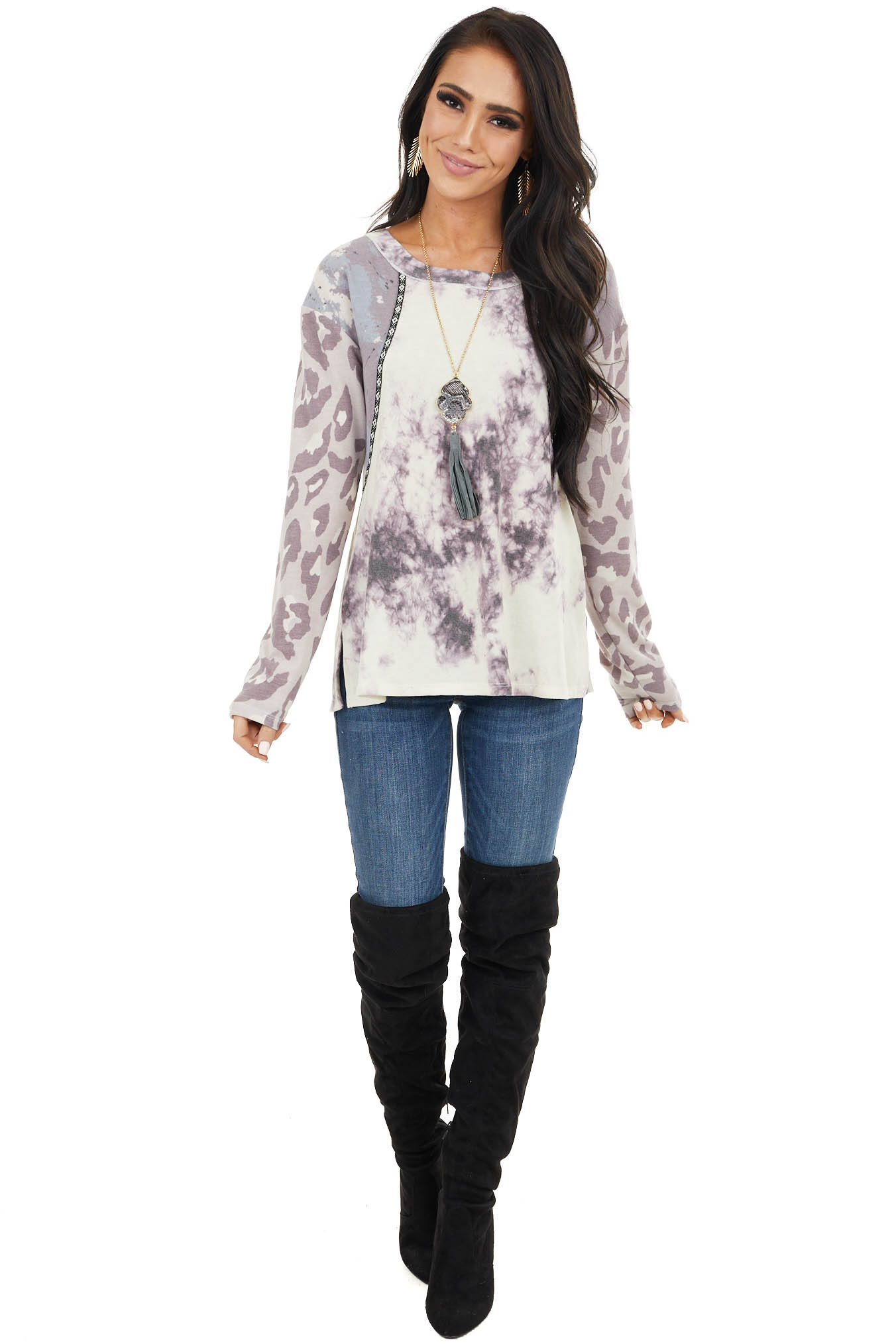 Lavender Multiprint Long Sleeve Top with Rounded Neck