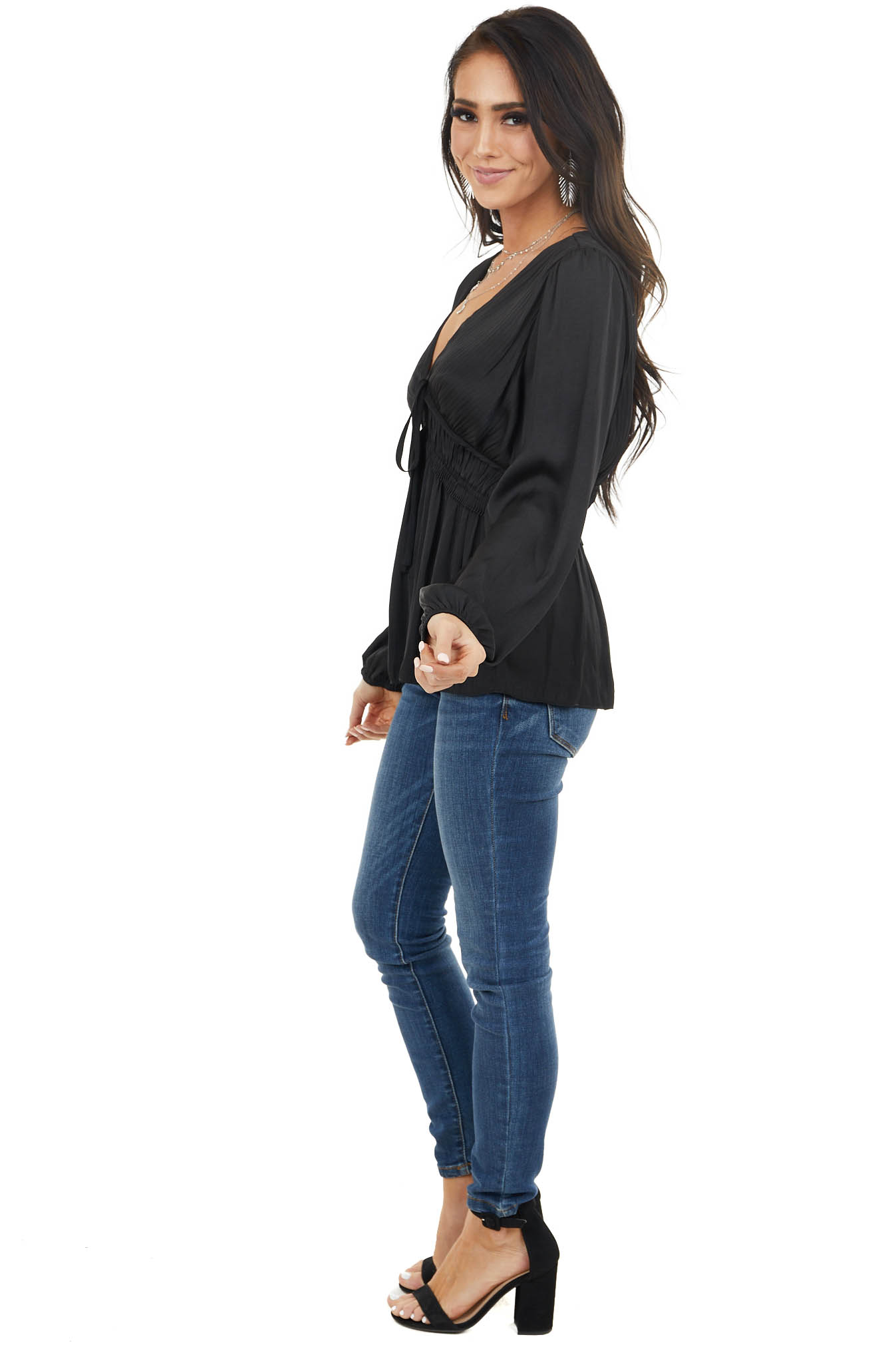 Black Cinch Waist Top with Front Tie and Ruffle Details