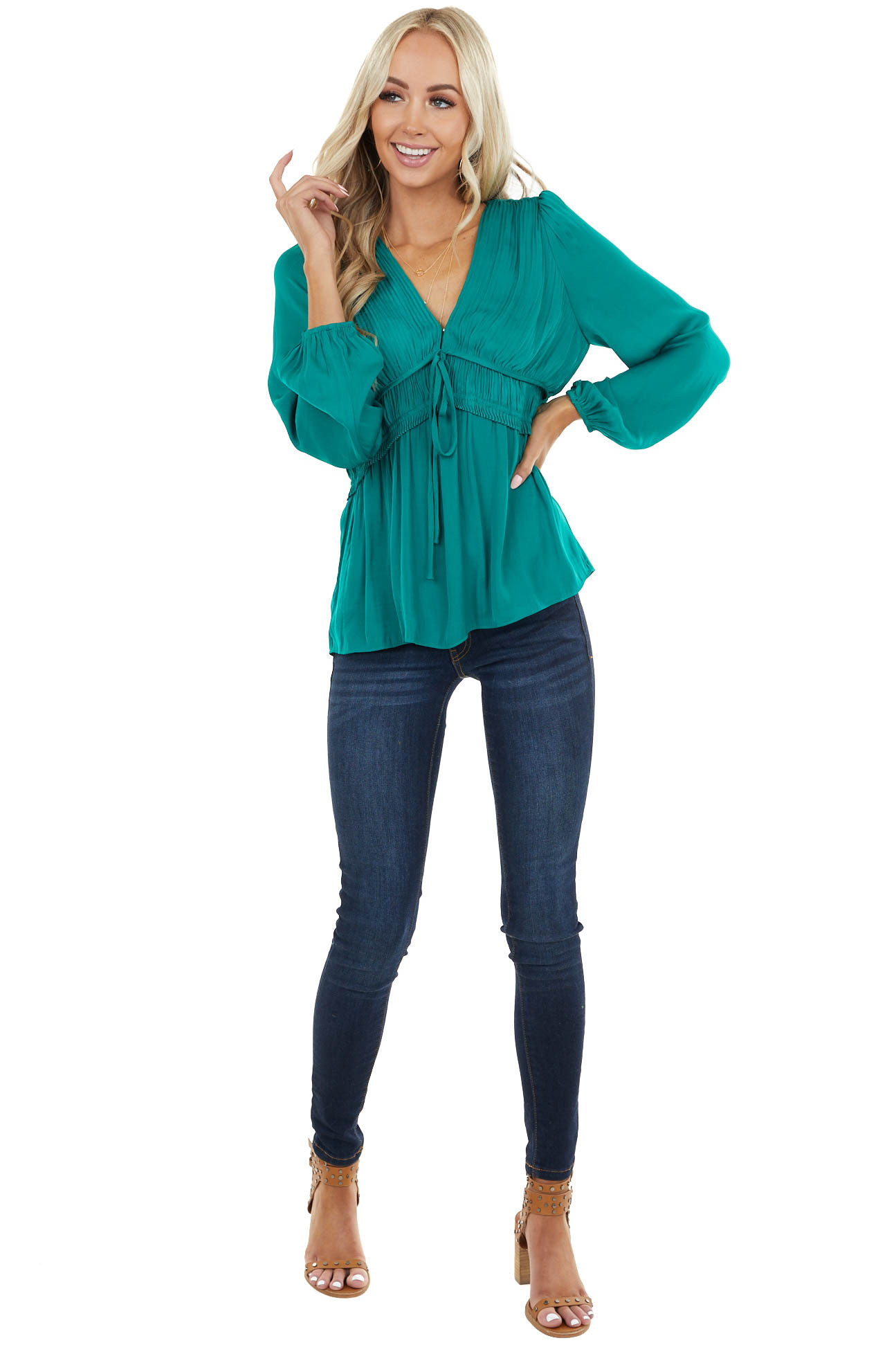 Emerald Cinch Waist Top with Front Tie and Ruffle Details