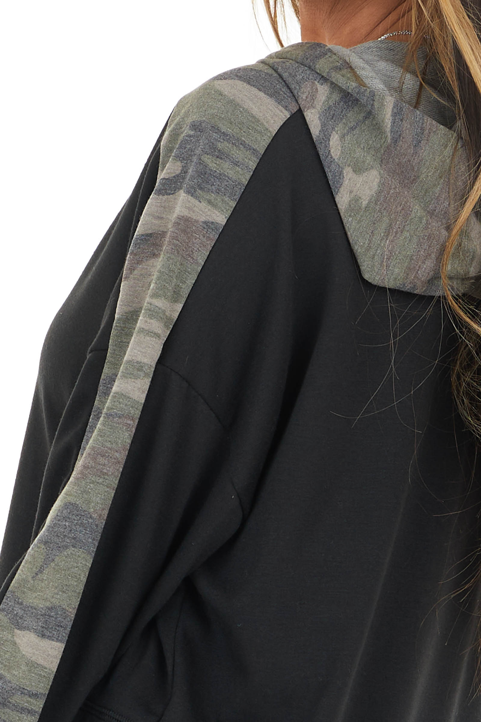 Black French Terry Drawstring Hoodie with Camo Contrast