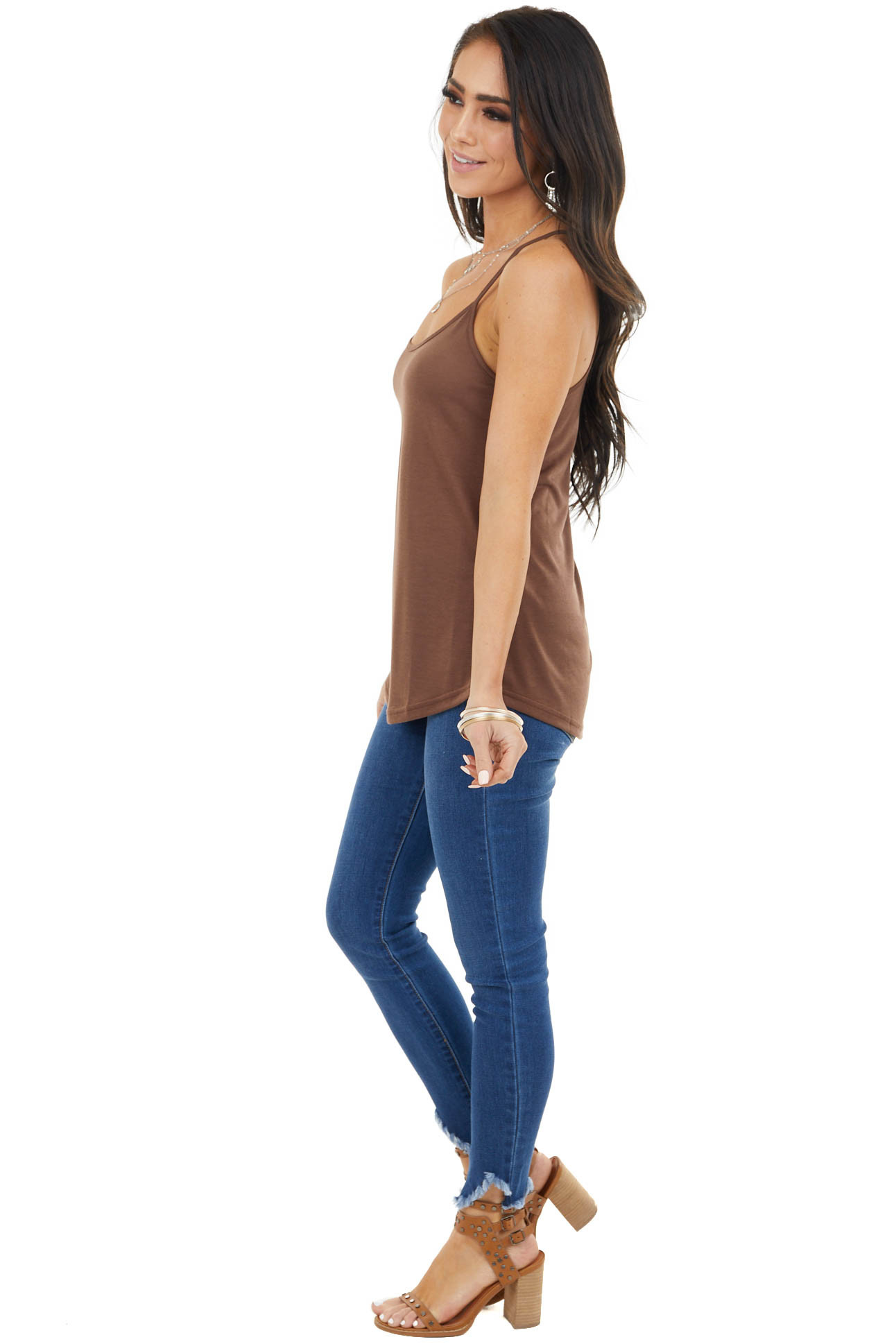 Walnut Racerback Cami with Rounded Hemline and Neckline