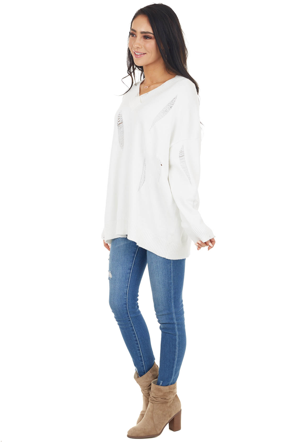 Off White Long Sleeve Knit Sweater with Distressed Details