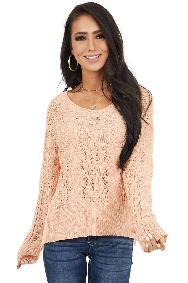 Peach Long Sleeve Lightweight Sweater with Cable Knit Detail