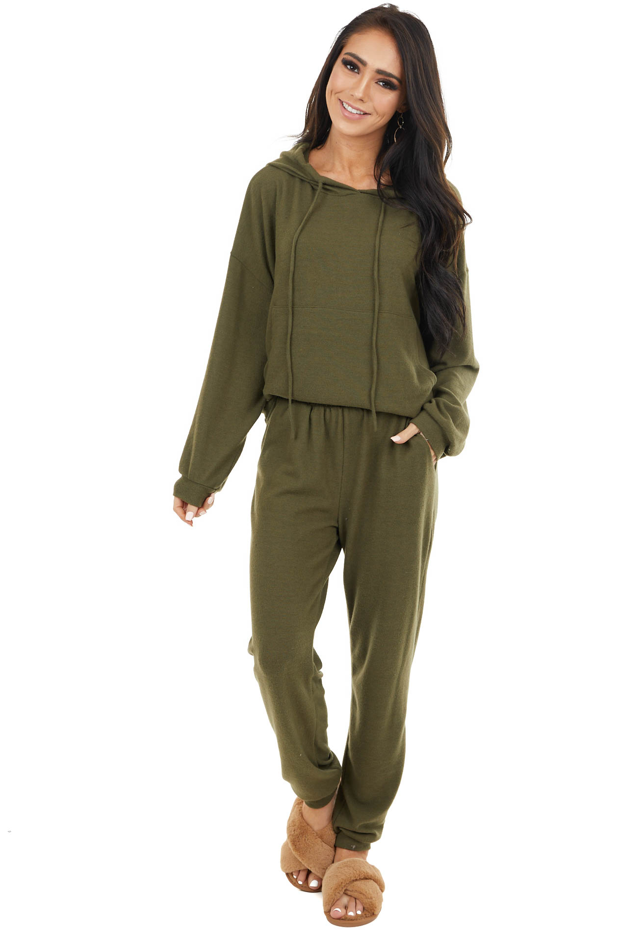 Olive Lightweight Knit Elastic Waist Joggers with Pockets