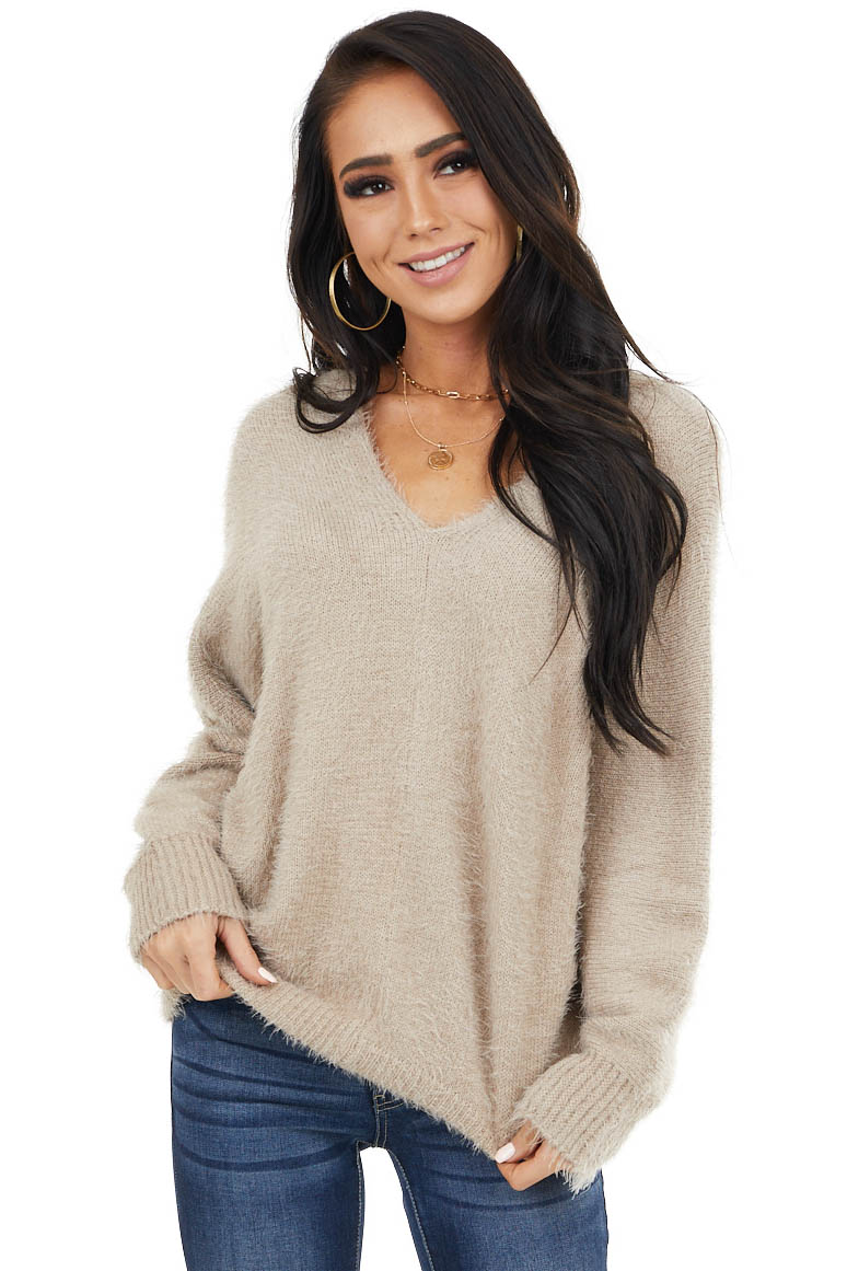 Latte V Neck Fuzzy Knit Sweater Top with Long Sleeves