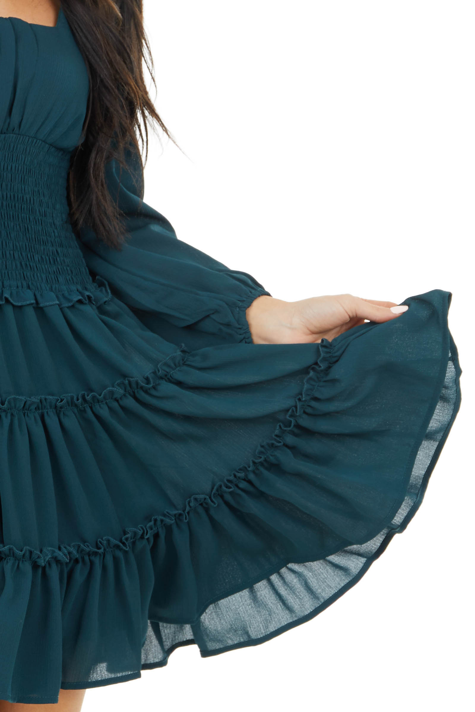 Dark Teal Tiered Dress with Smocked Waist and Puff Sleeves