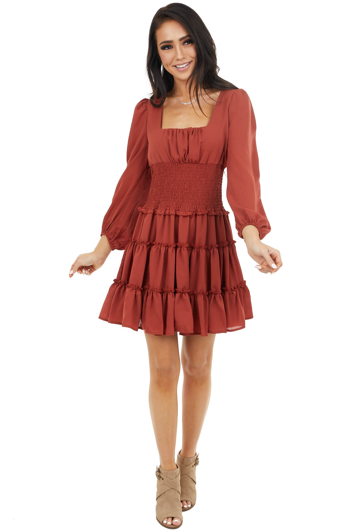 Rust Tiered Dress with Smocked Waist and Puff Sleeves