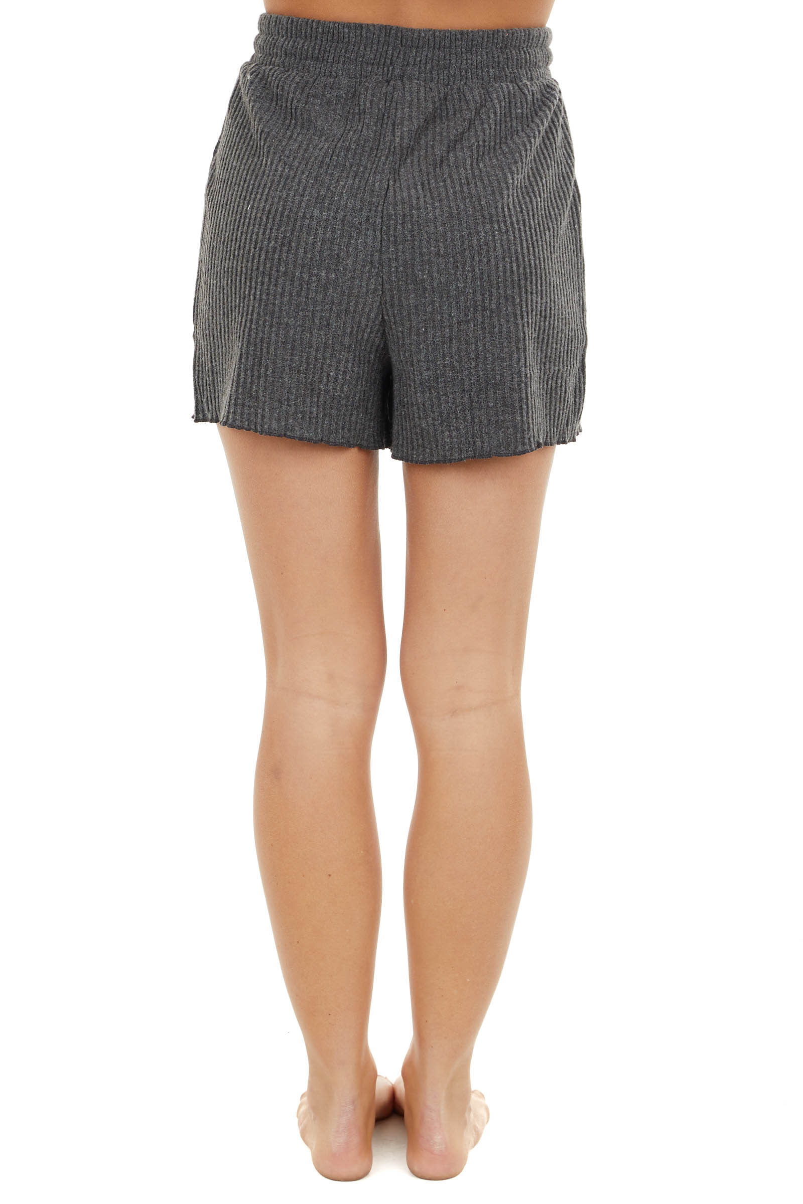 Charcoal Grey Rib Knit Shorts with Elastic Waist and Pockets