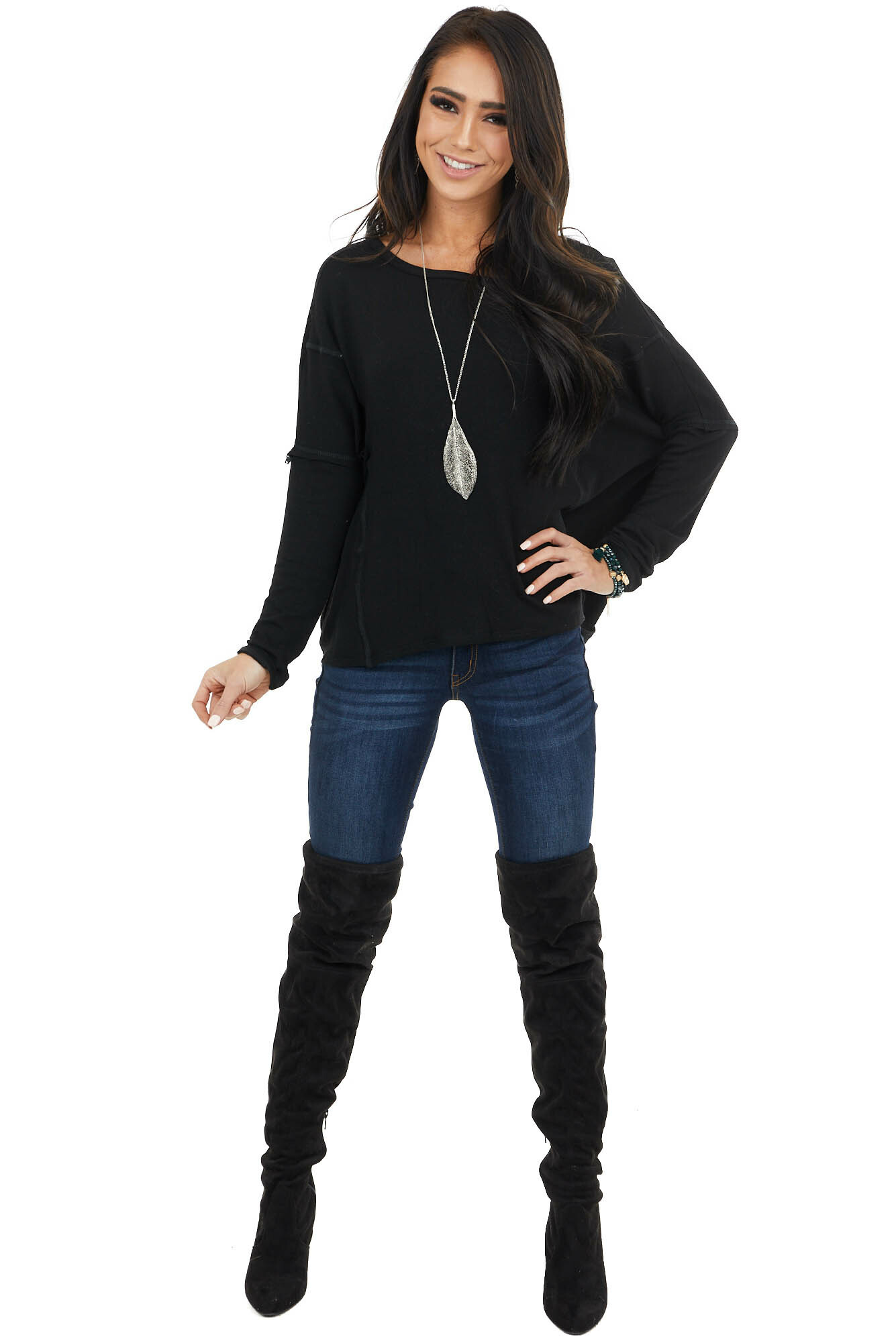 Black Long Sleeve Knit Top With Open Back Surplice Detail