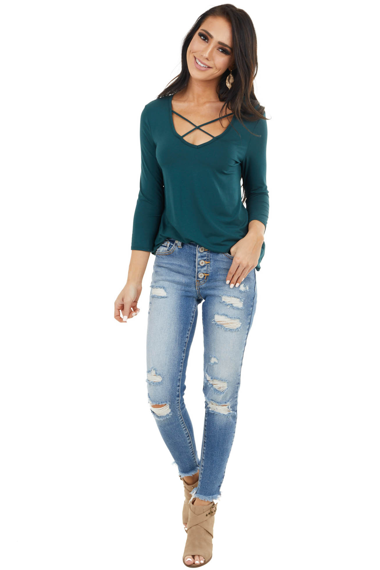 Pine Green 3/4 Sleeve Knit Top with Criss Cross Details