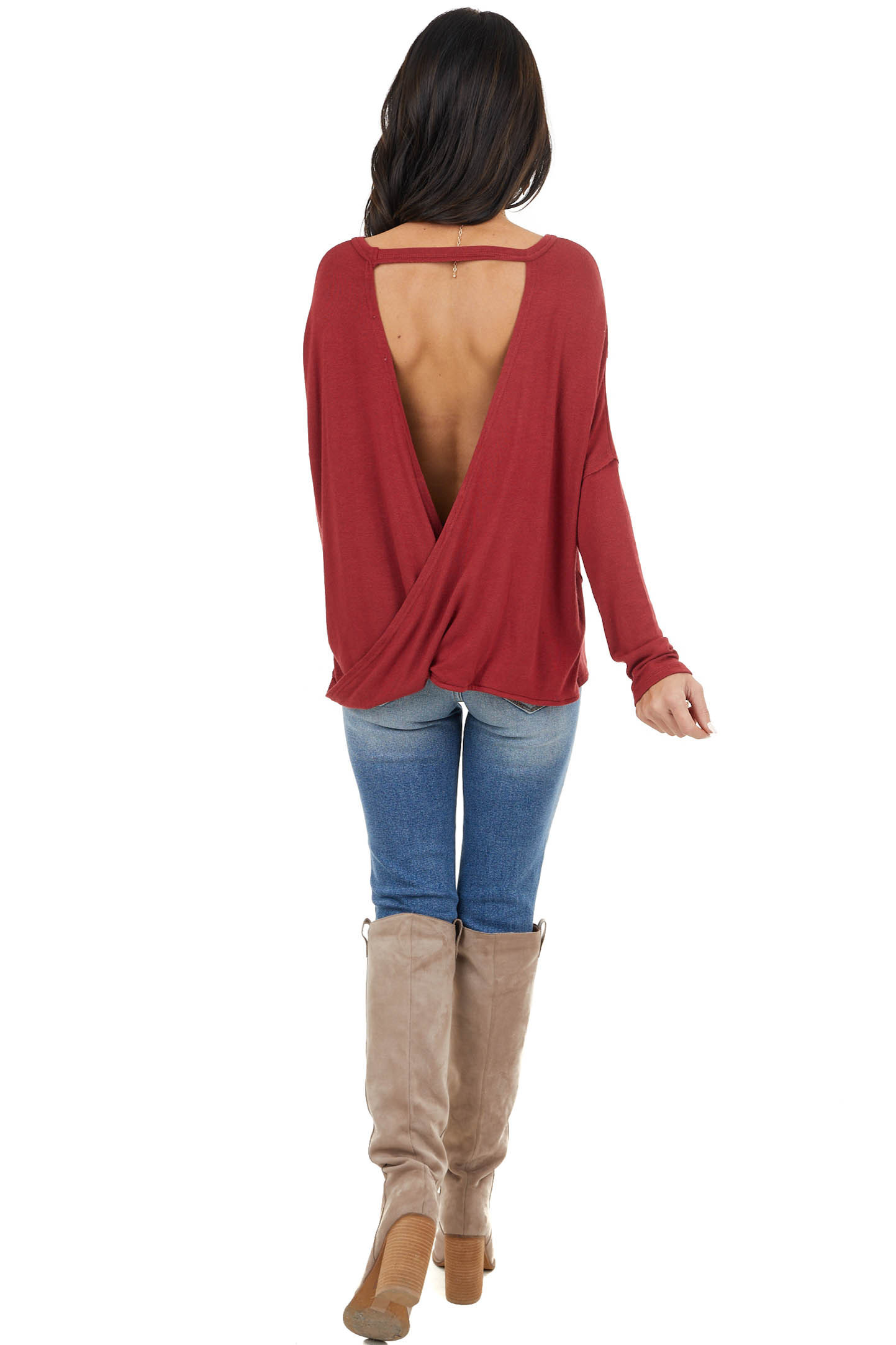 Cherry Red Long Sleeve Top With Open Back Surplice Detail