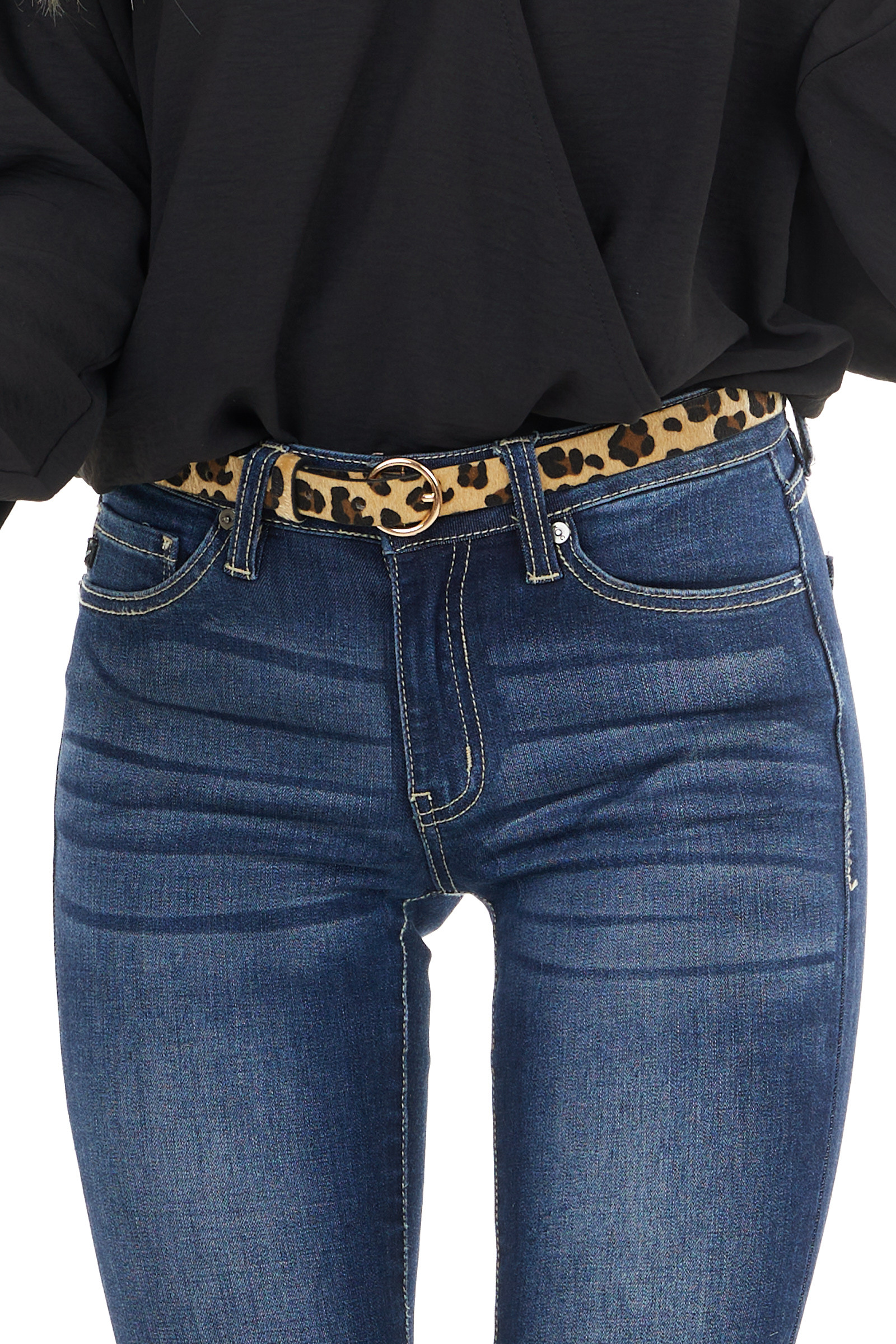 Beige and Black Leopard Print Belt with Gold Ring Buckle