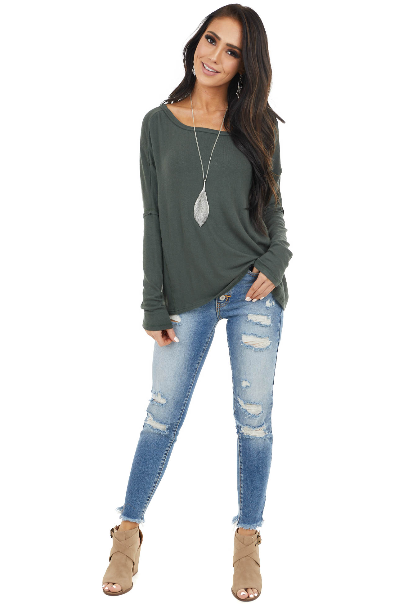 Hunter Green Long Sleeve Top With Open Back Surplice Detail