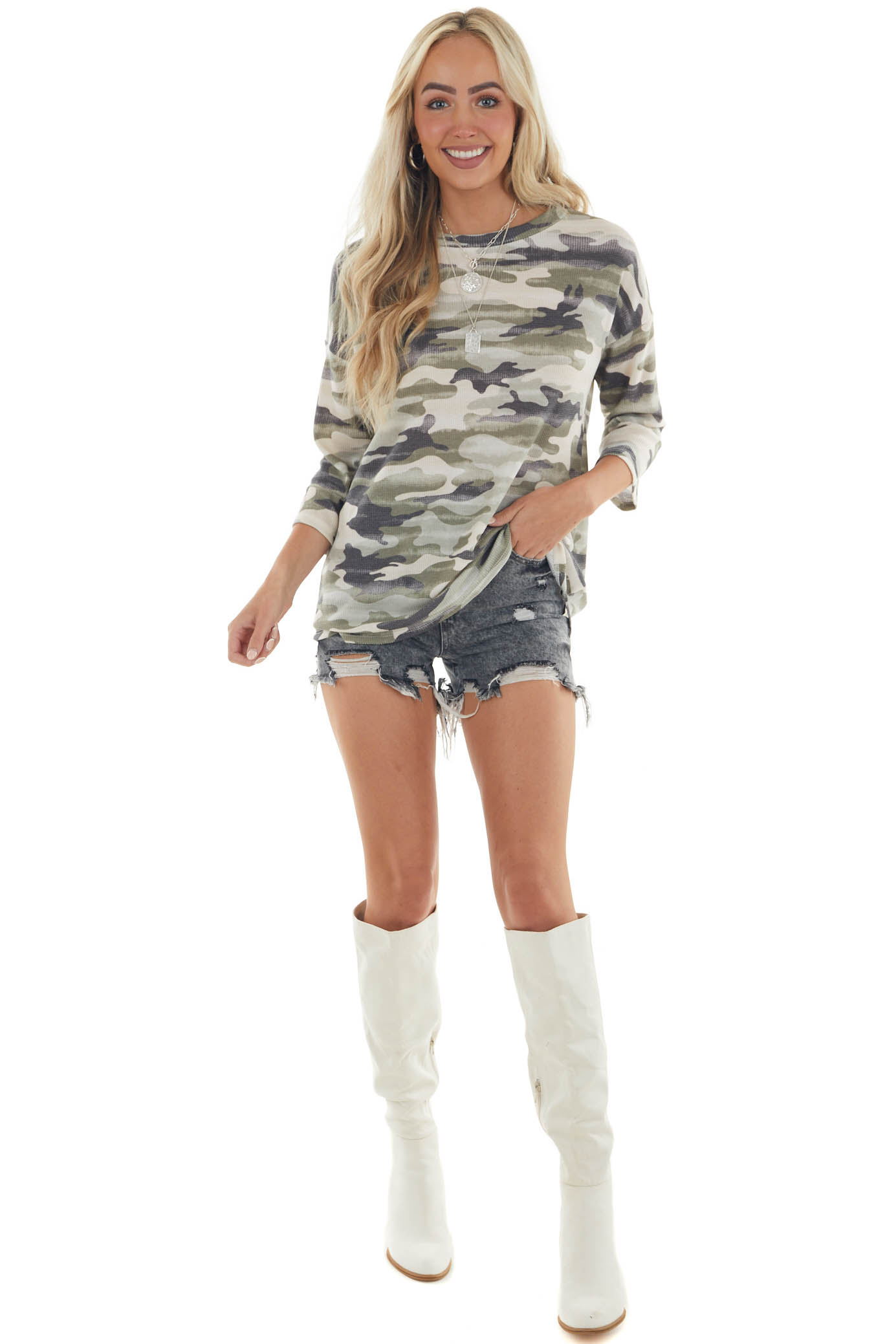 Vintage Olive Camo Waffle Knit Top with 3/4 Sleeves