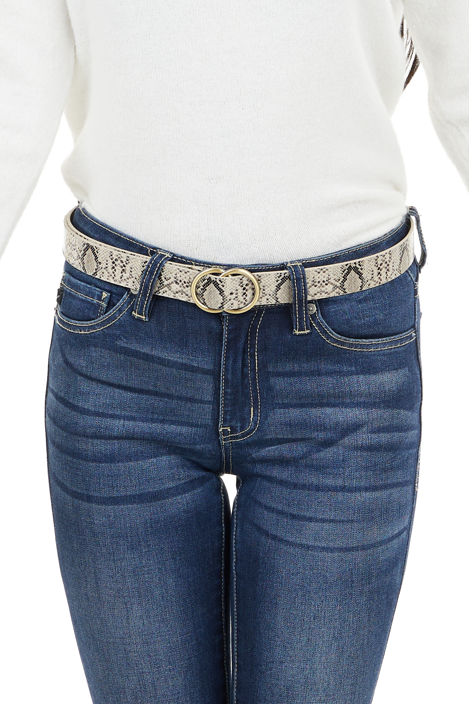 Black and Ivory Faux Snakeskin Belt with Double Ring Buckle