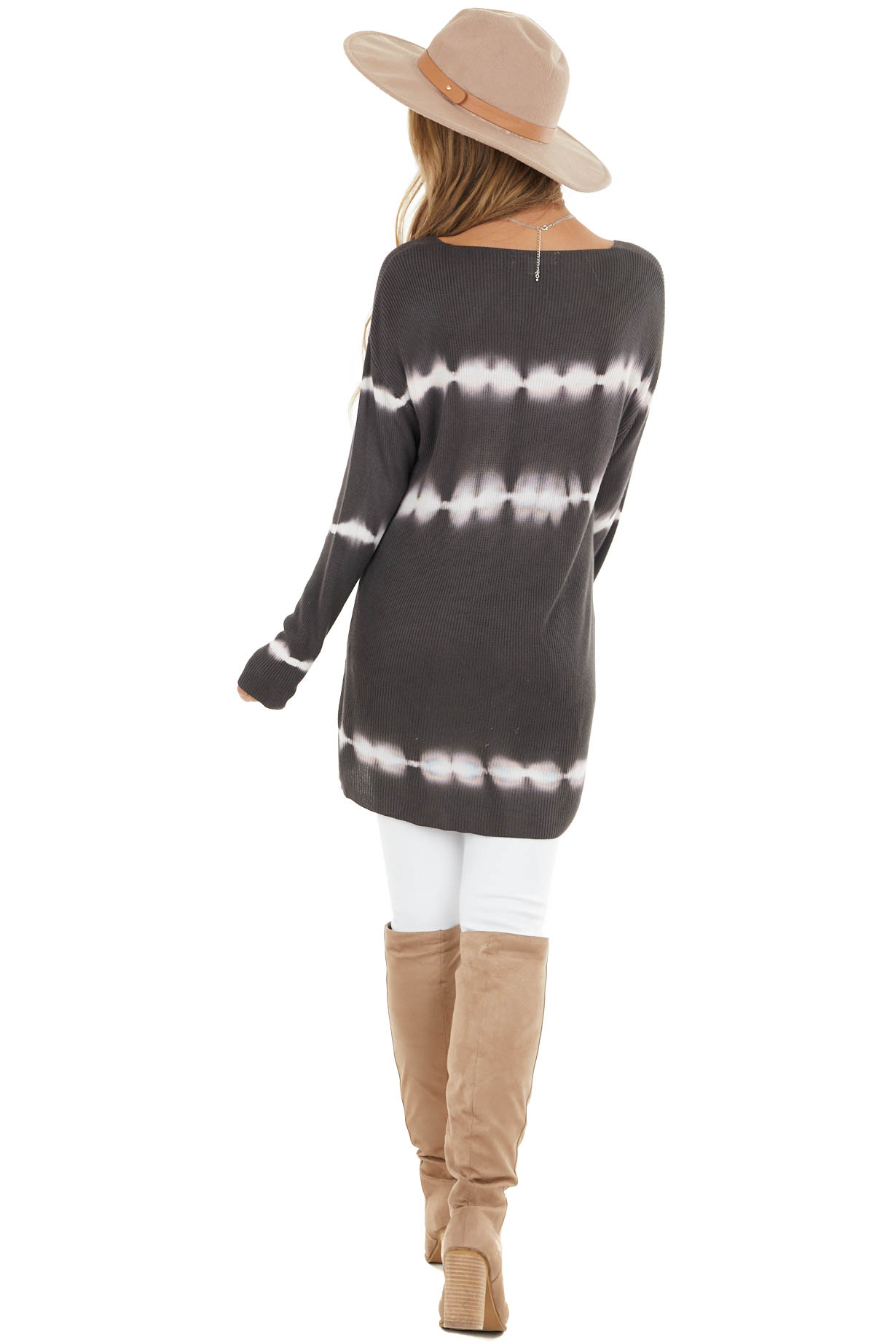 Charcoal Striped Tie Dye Ribbed Knit Top with Long Sleeves
