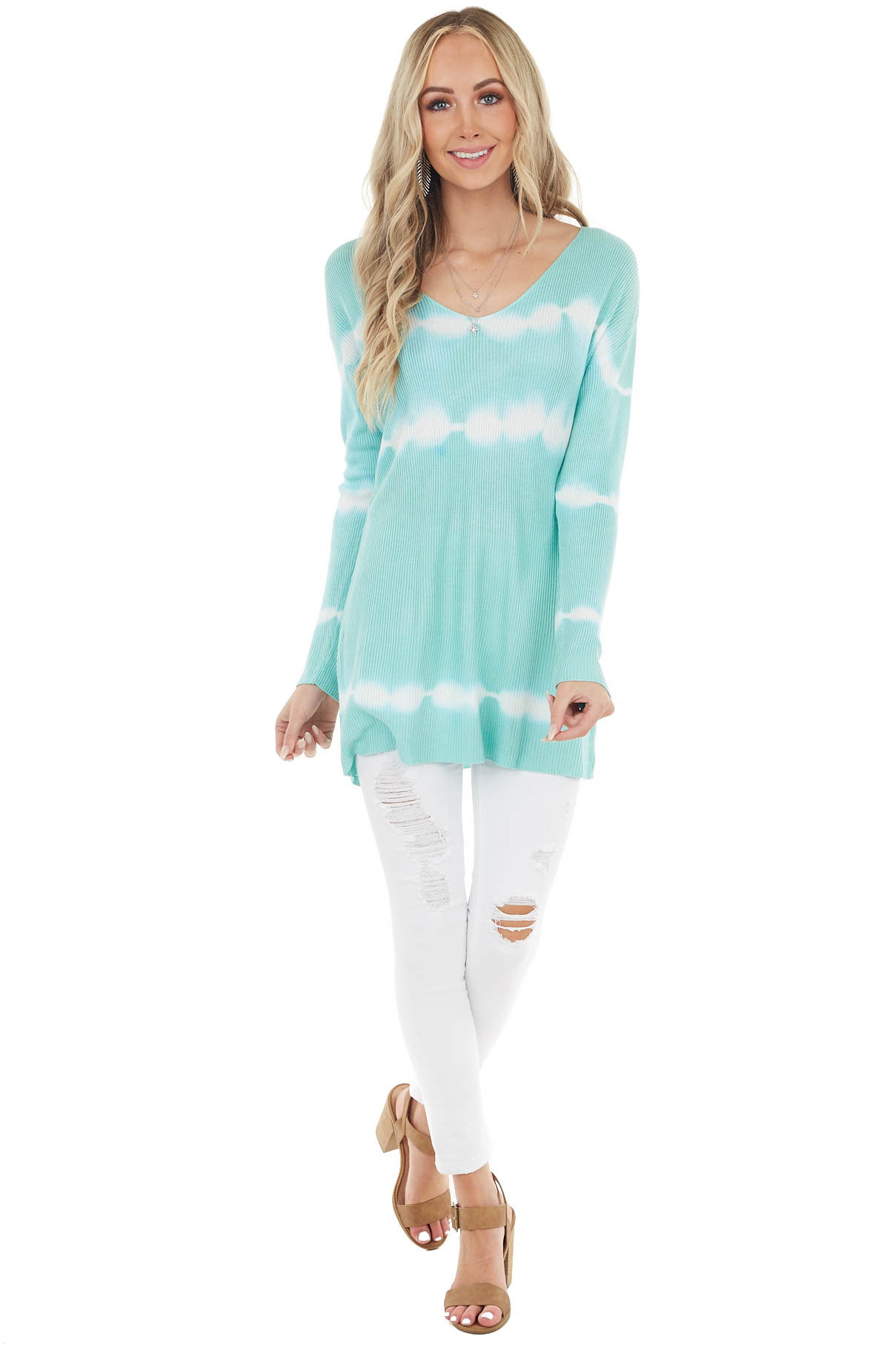 Aqua Striped Tie Dye Ribbed Knit Top with Long Sleeves