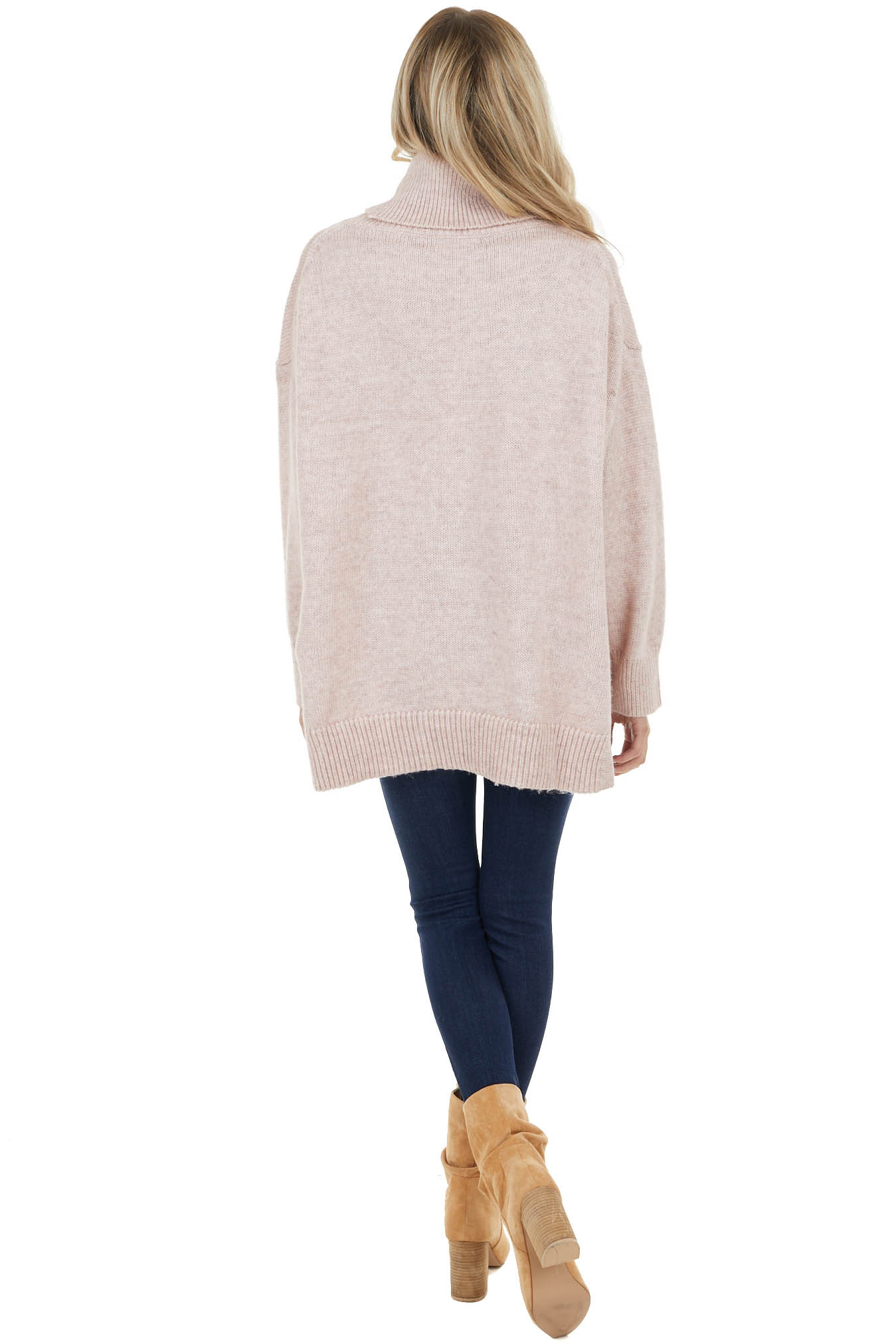 Dusty Rose Turtleneck Sweater with Long Dolman Sleeves