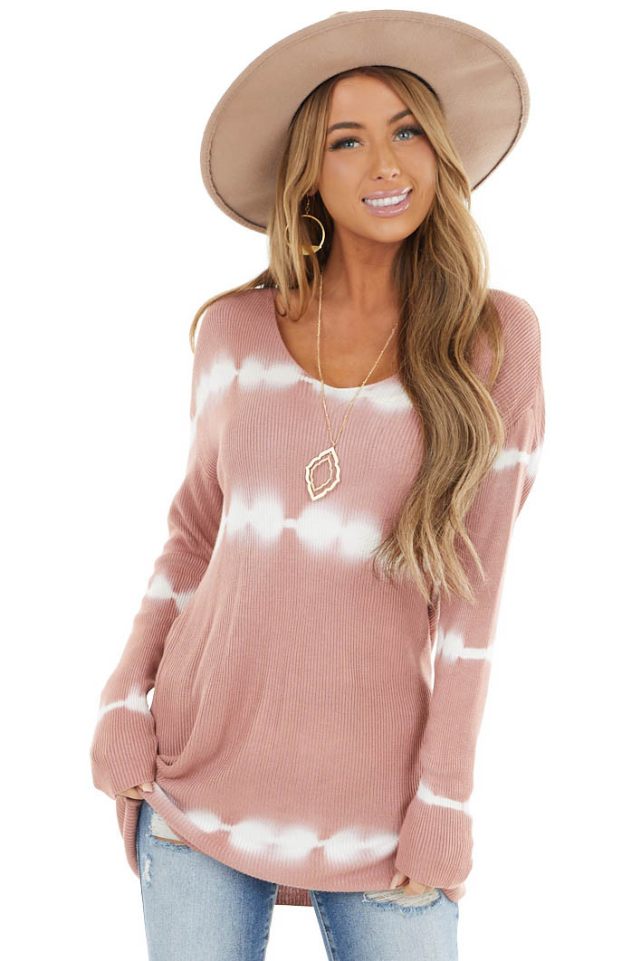 Dusty Rose Striped Tie Dye Ribbed Knit Top with Long Sleeves
