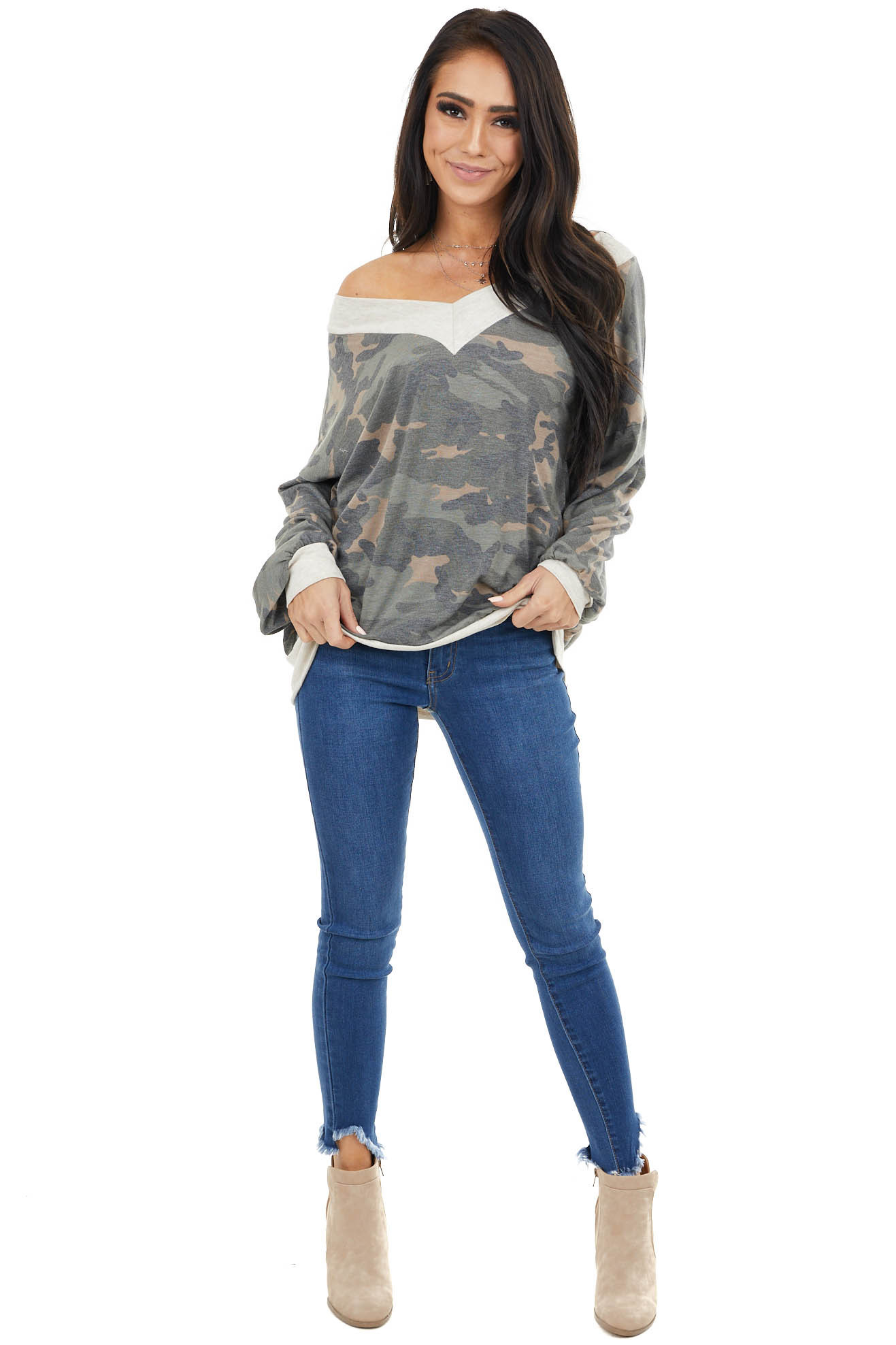 Olive Camo Print Knit Top with Oatmeal Trim Details