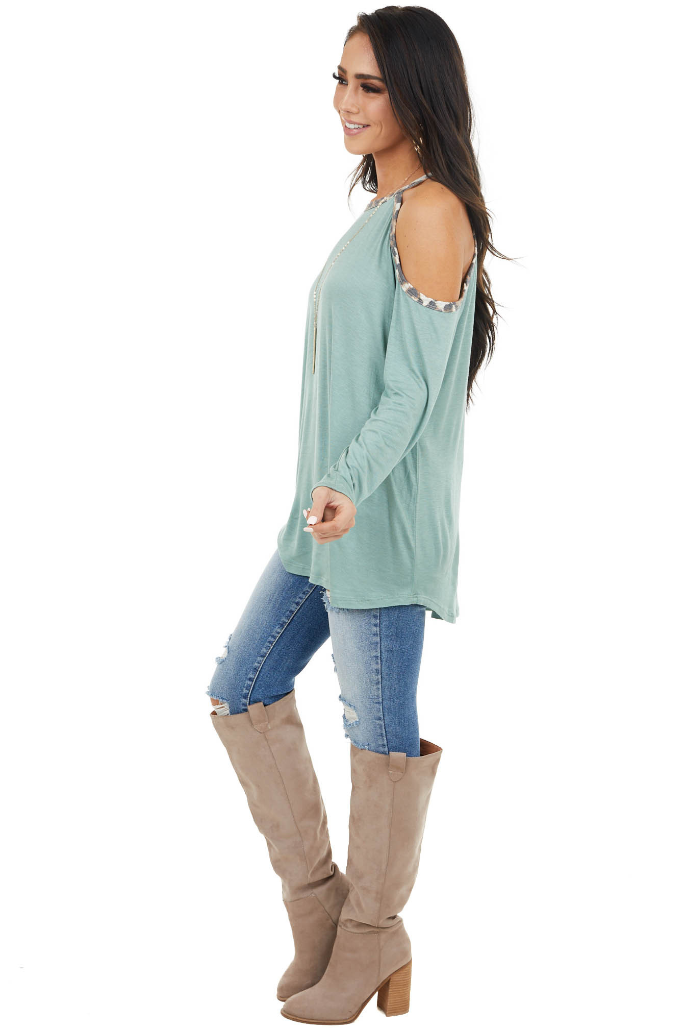 Sage Cold Shoulder Long Sleeve Top with Leopard Print
