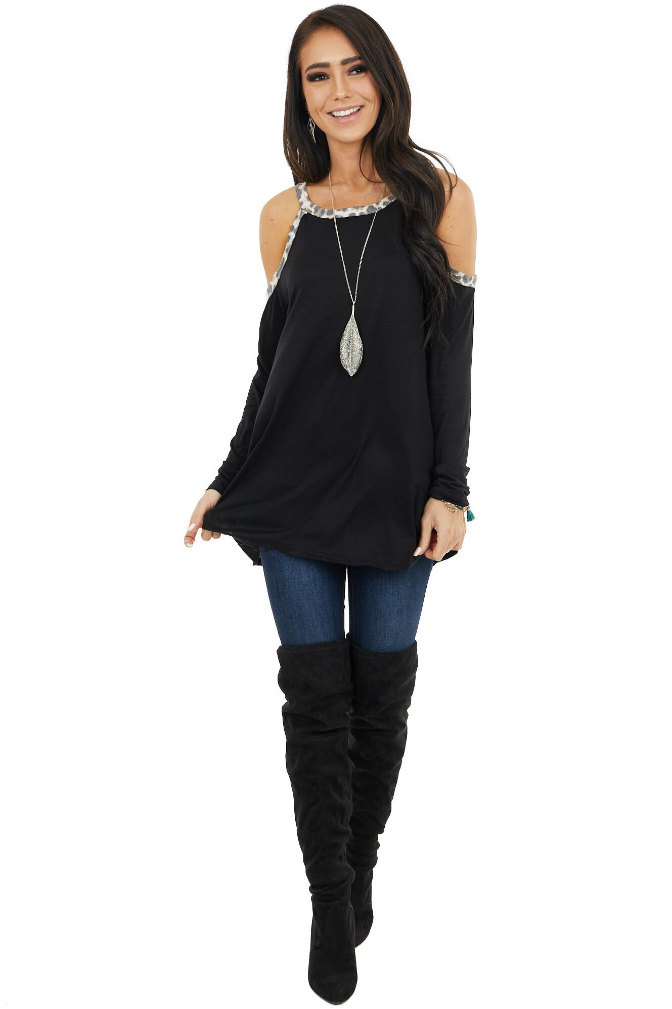 Black Cold Shoulder Long Sleeve Top with Leopard Print
