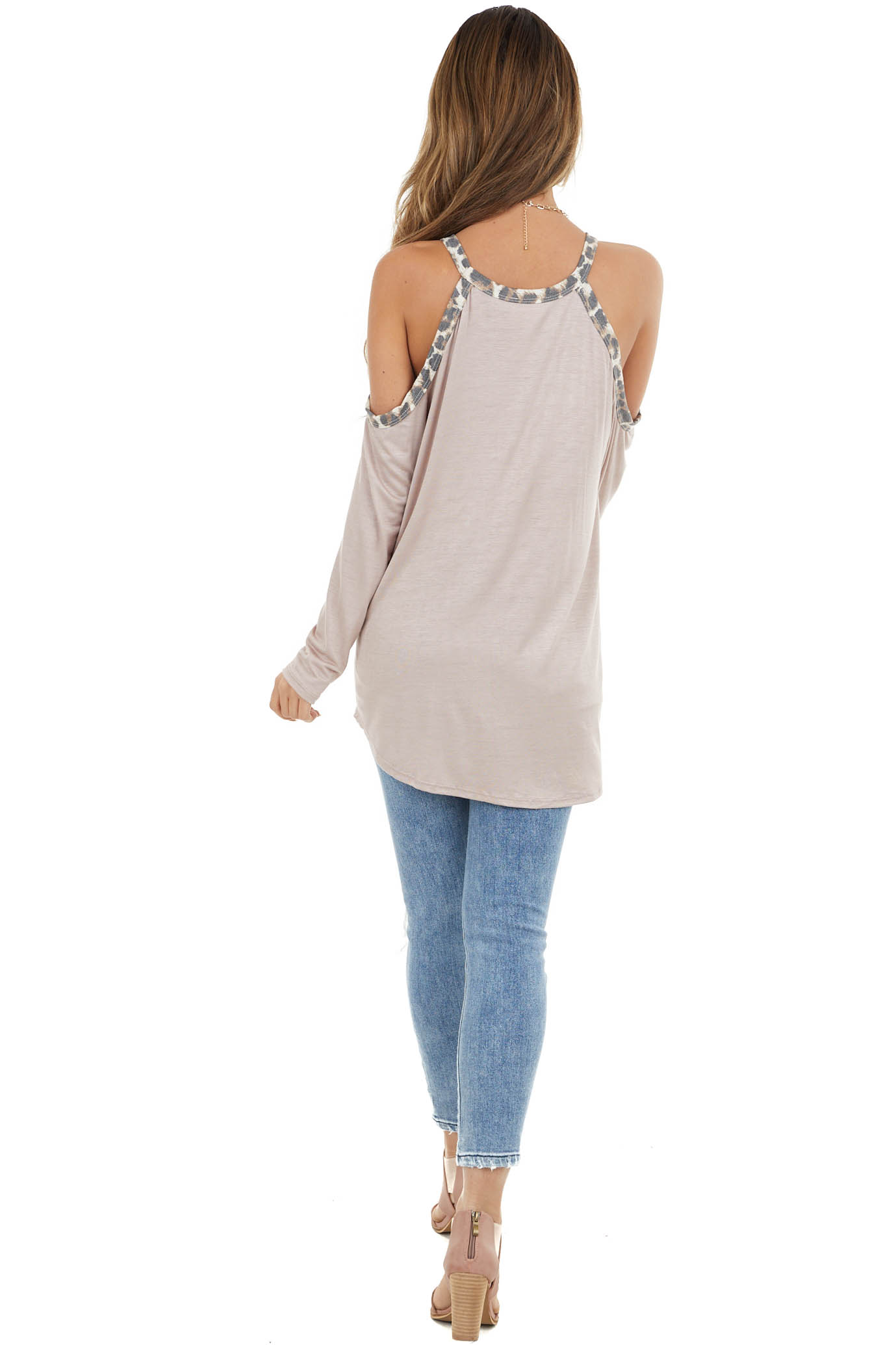 Light Mocha Cold Shoulder Long Sleeve Top with Leopard Print