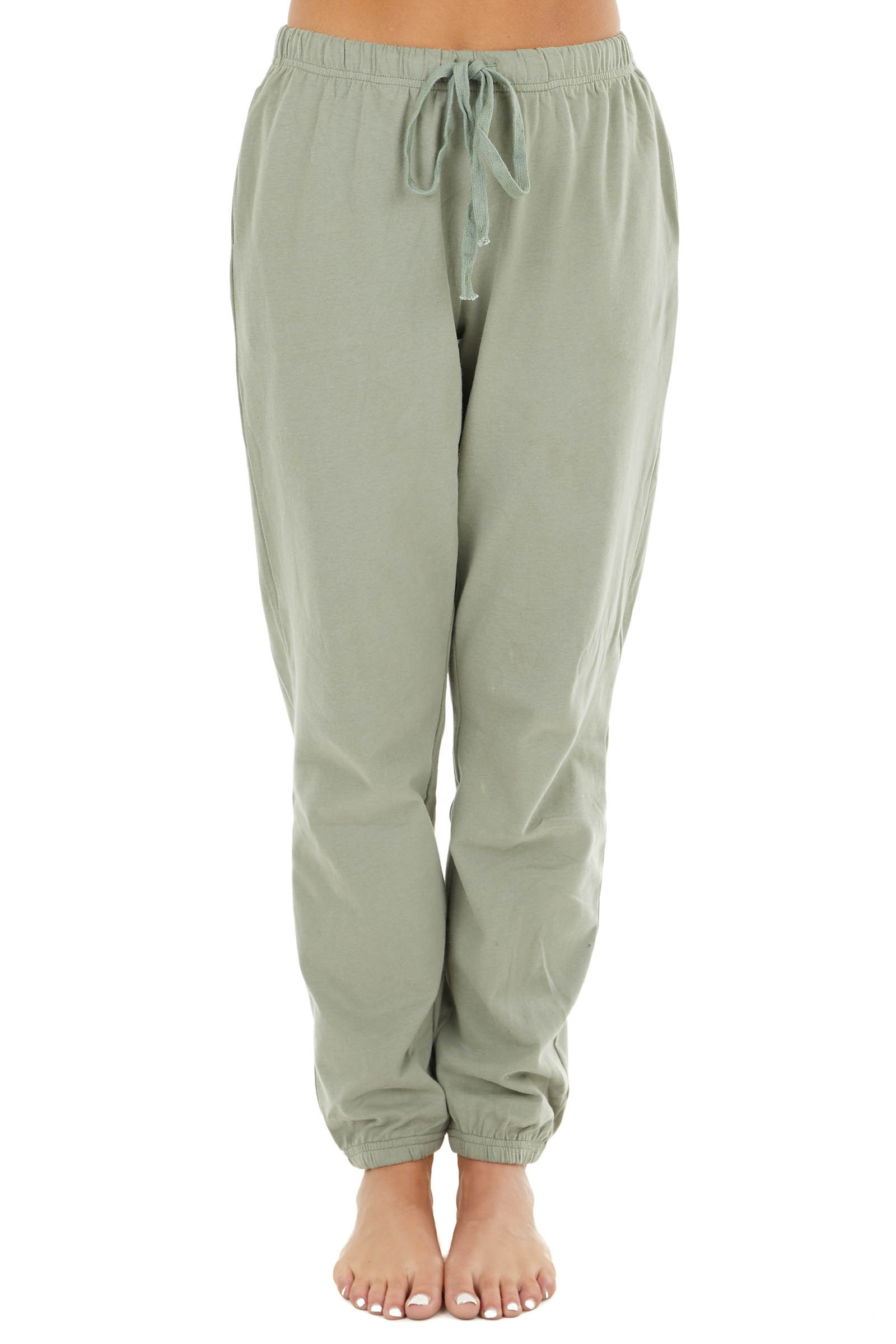 Sage Soft Knit Joggers with Elastic Waist and Pockets
