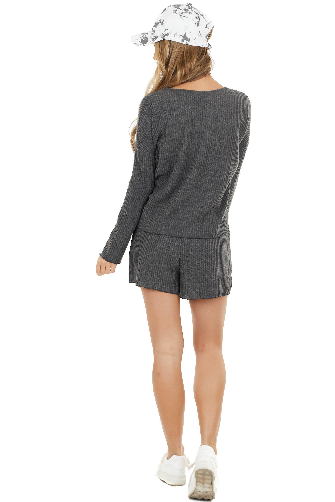 Charcoal Grey Rib Knit Long Sleeve Top with Pocket