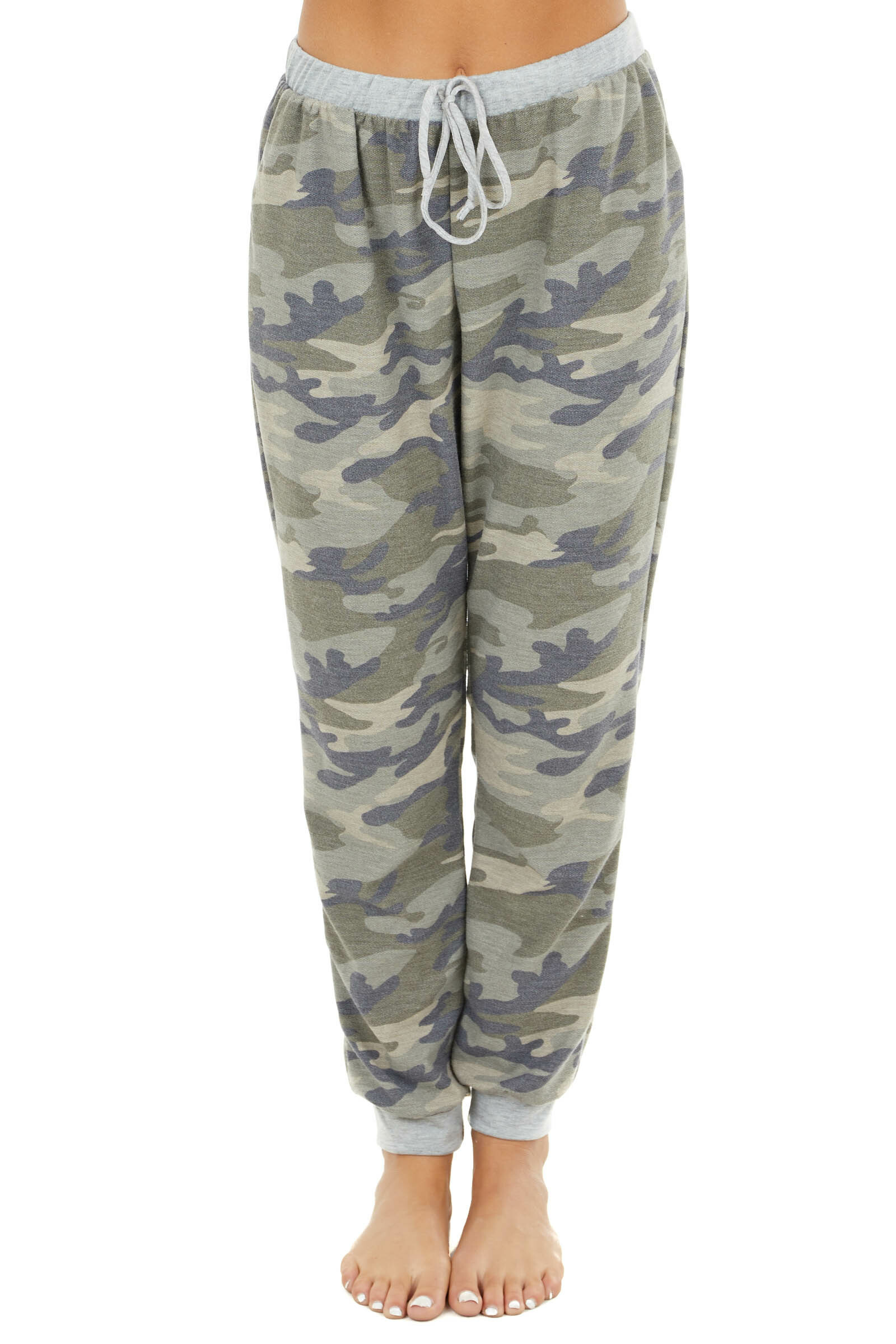 Dusty Sage Camo Print Joggers with Pockets and Tie Detail
