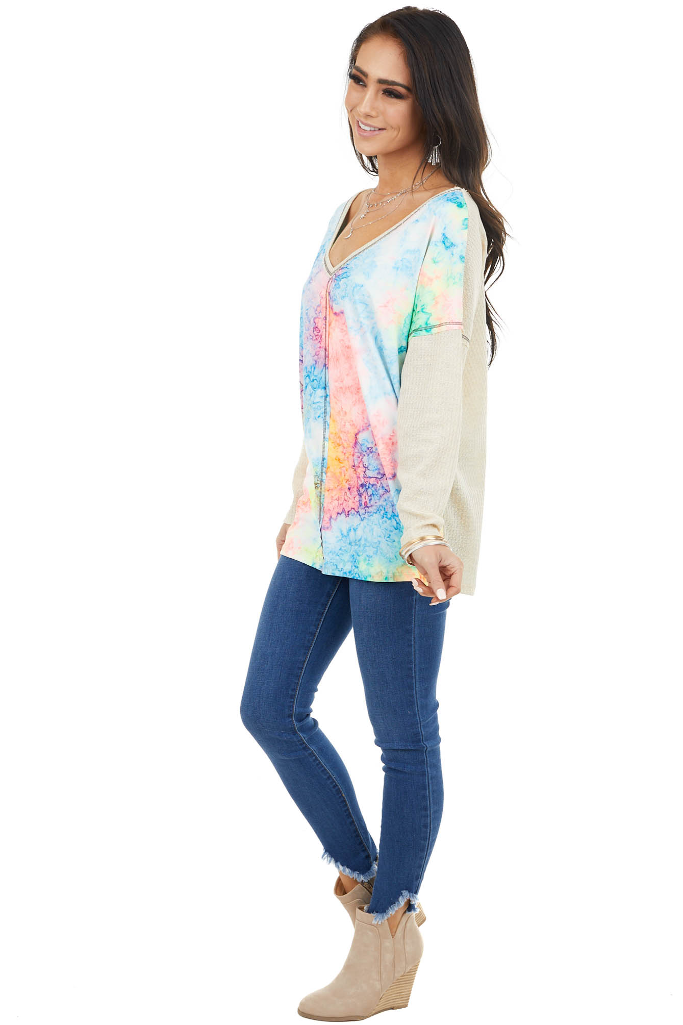 Beige Waffle Knit Top with Multicolor Tie Dye Contrast Front