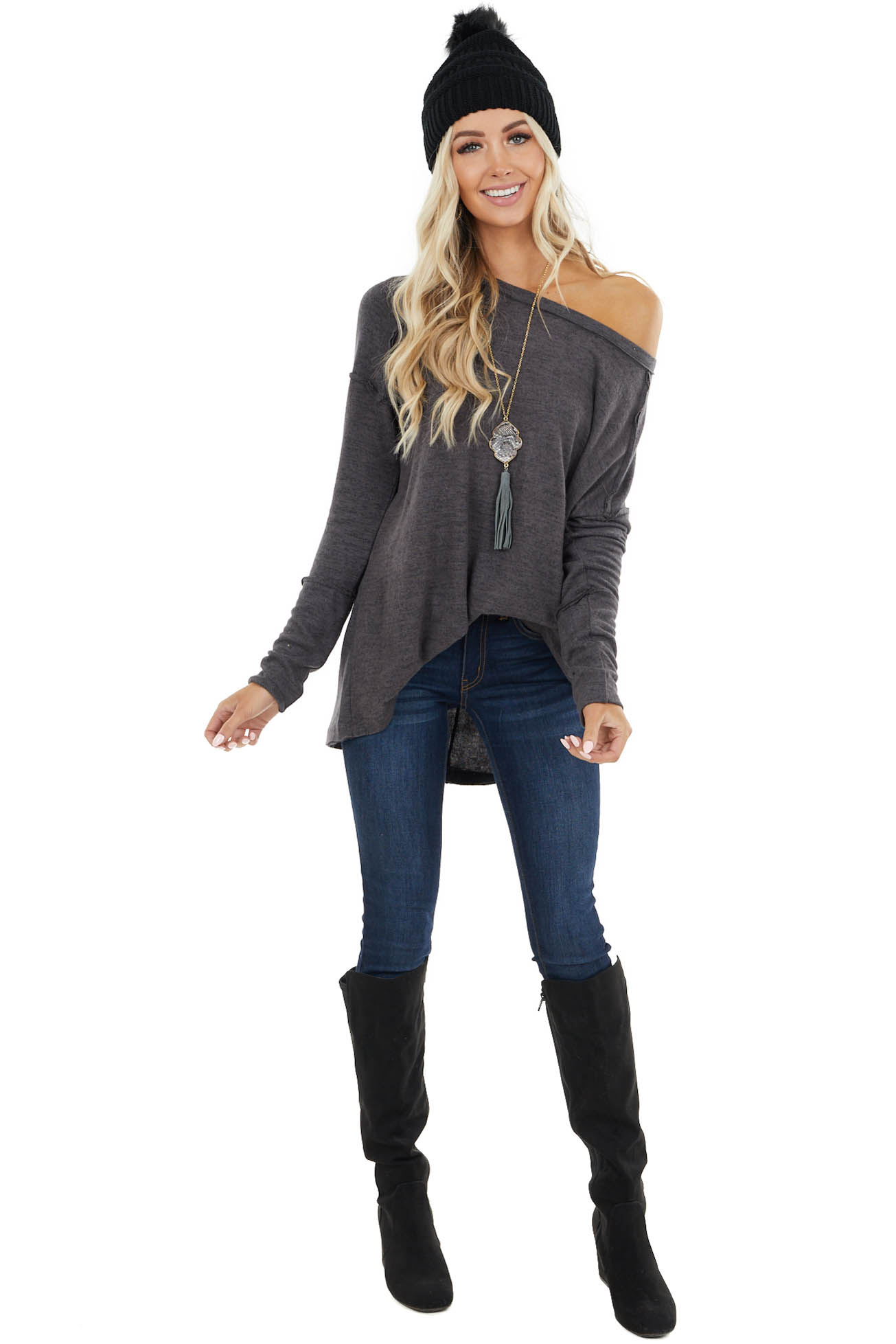 Charcoal Fuzzy Stretchy Knit Top with Raw Edge Details