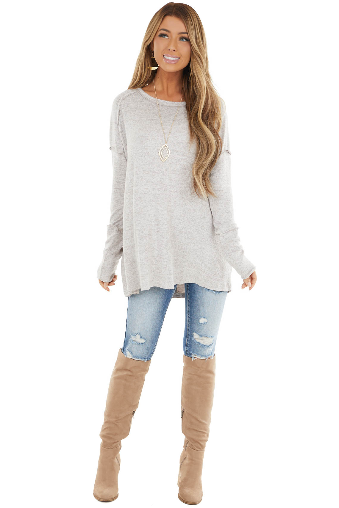 Latte Two Tone Fuzzy Stretchy Knit Top with Raw Edge Details