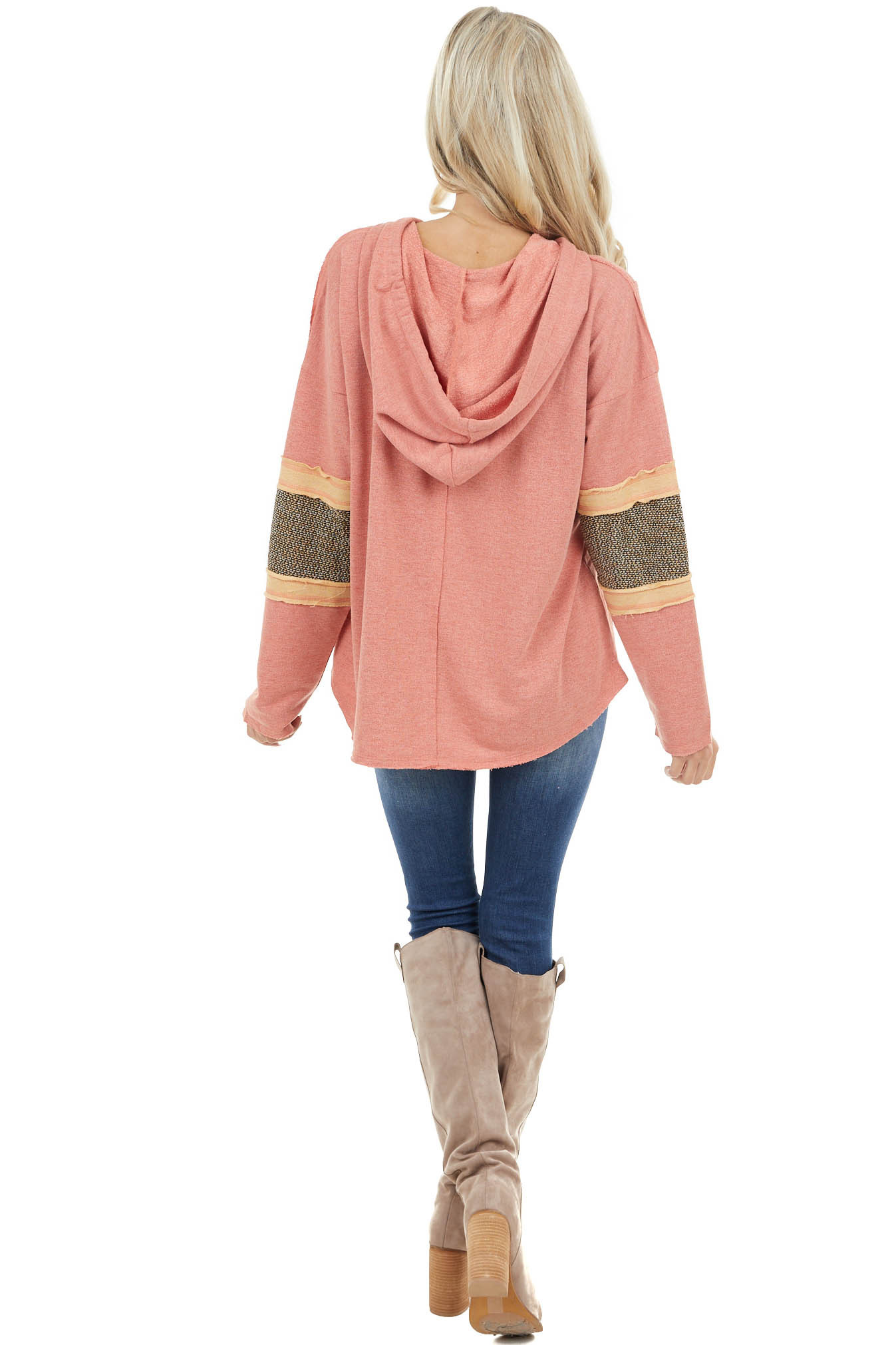Coral Square Neck Hoodie with Raw Edge Stripe Sleeve Detail