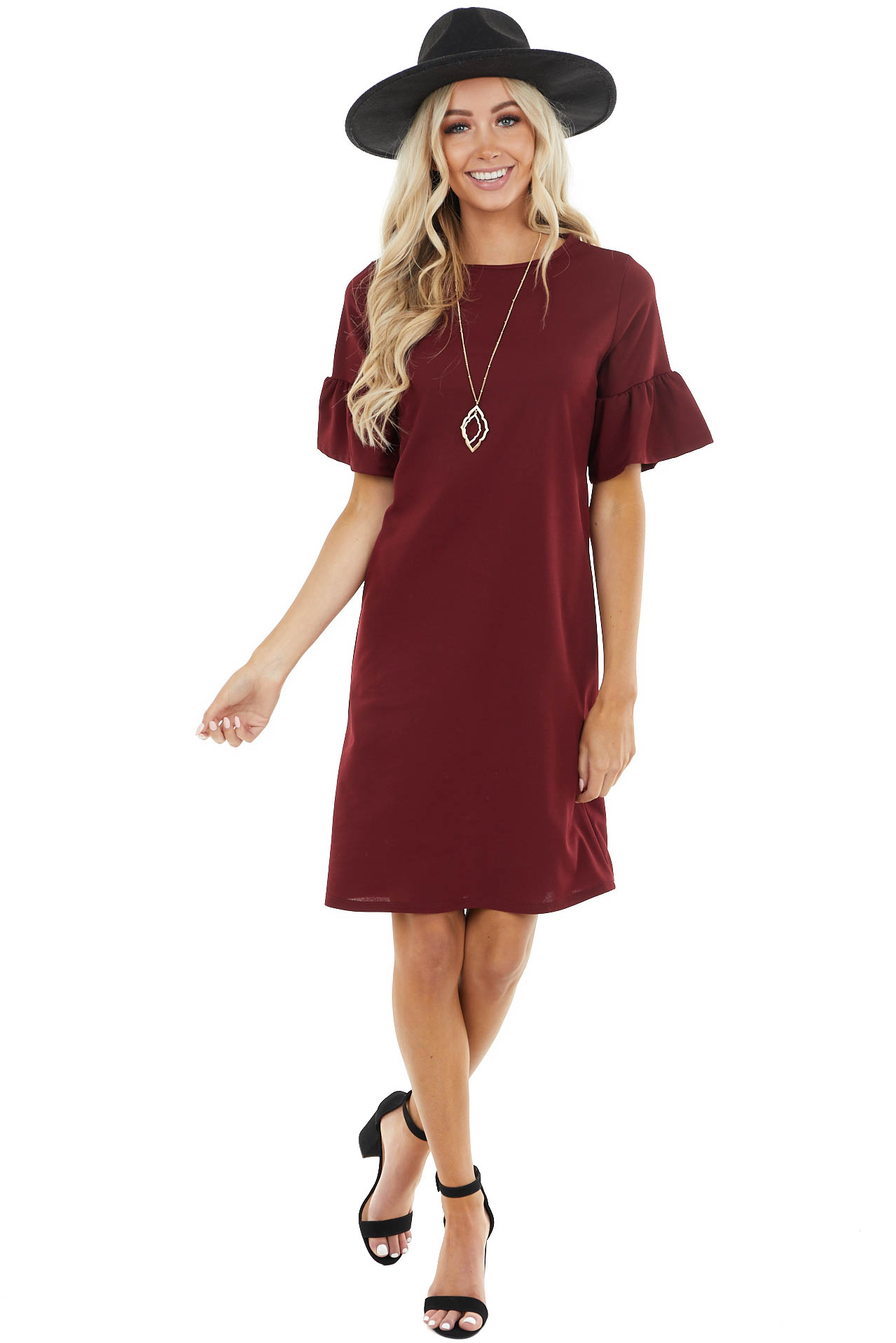 Wine Sheath Dress with Short Ruffle Bell Sleeves