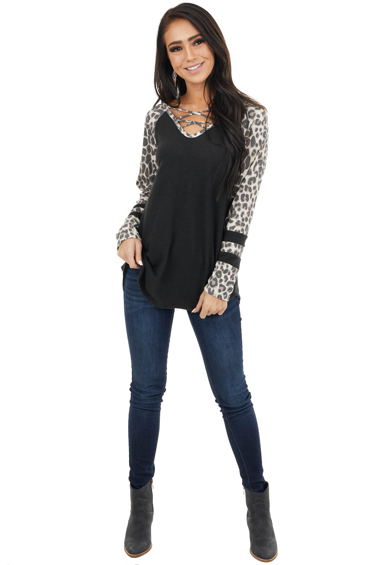 Black V Neck Top with Leopard Print Waffle Knit Long Sleeves