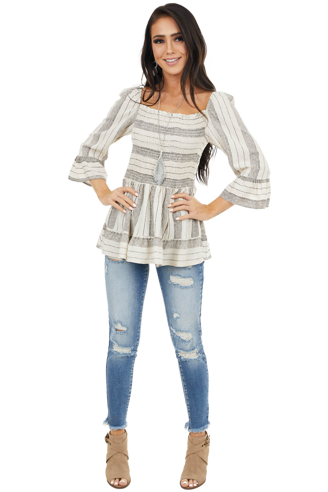 Ivory and Black Striped Smocked Top with Elastic Shoulders