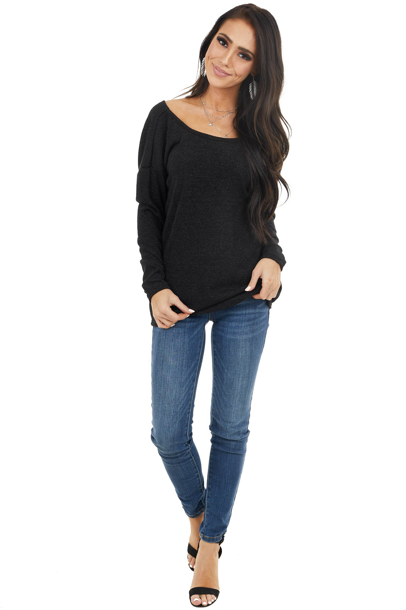 Black and Sparkle Thread Knit Top with Low Back Knot Detail