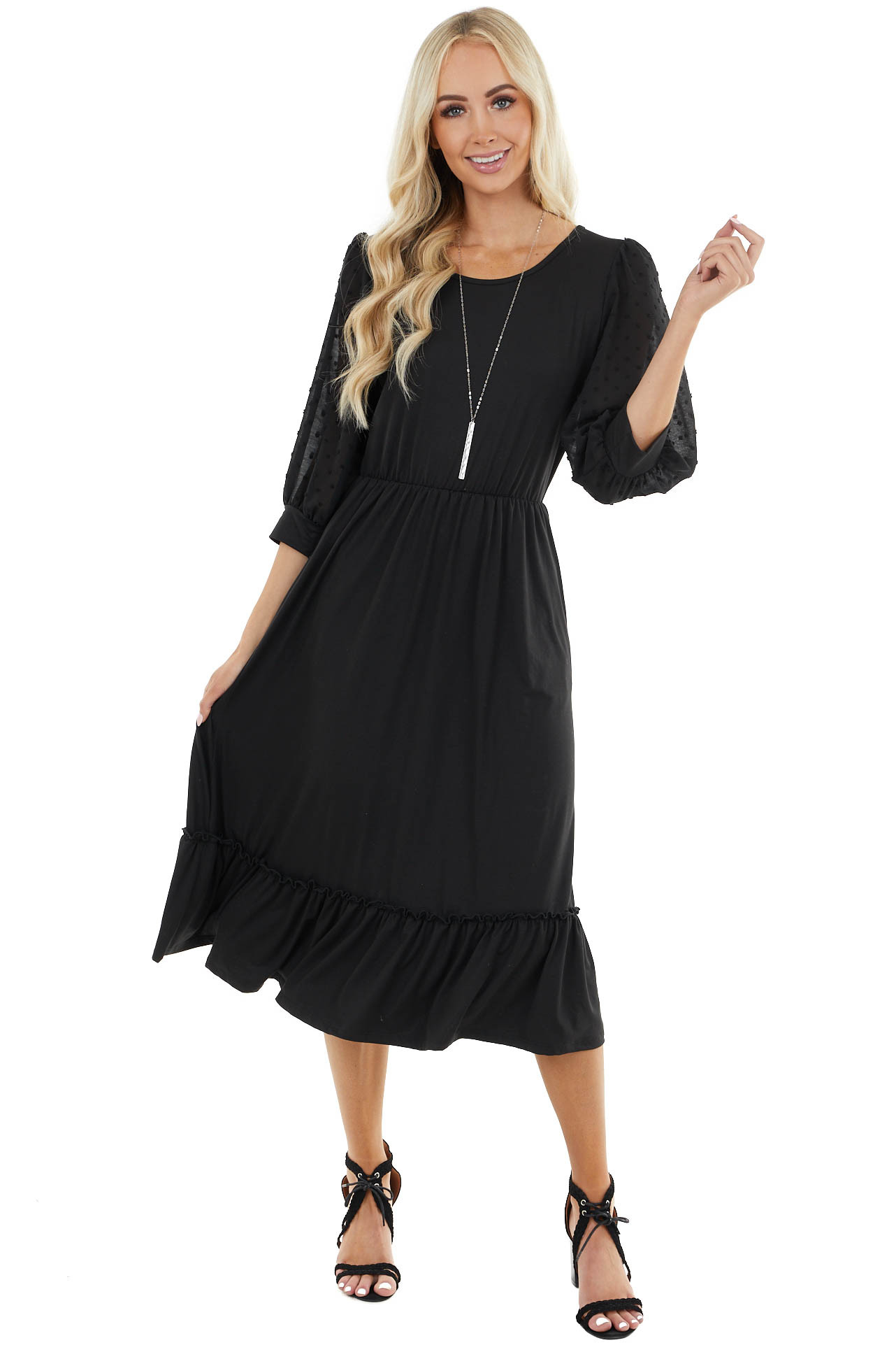Black Cinch Waist Midi Dress with 3/4 Swiss Dot Puff Sleeves